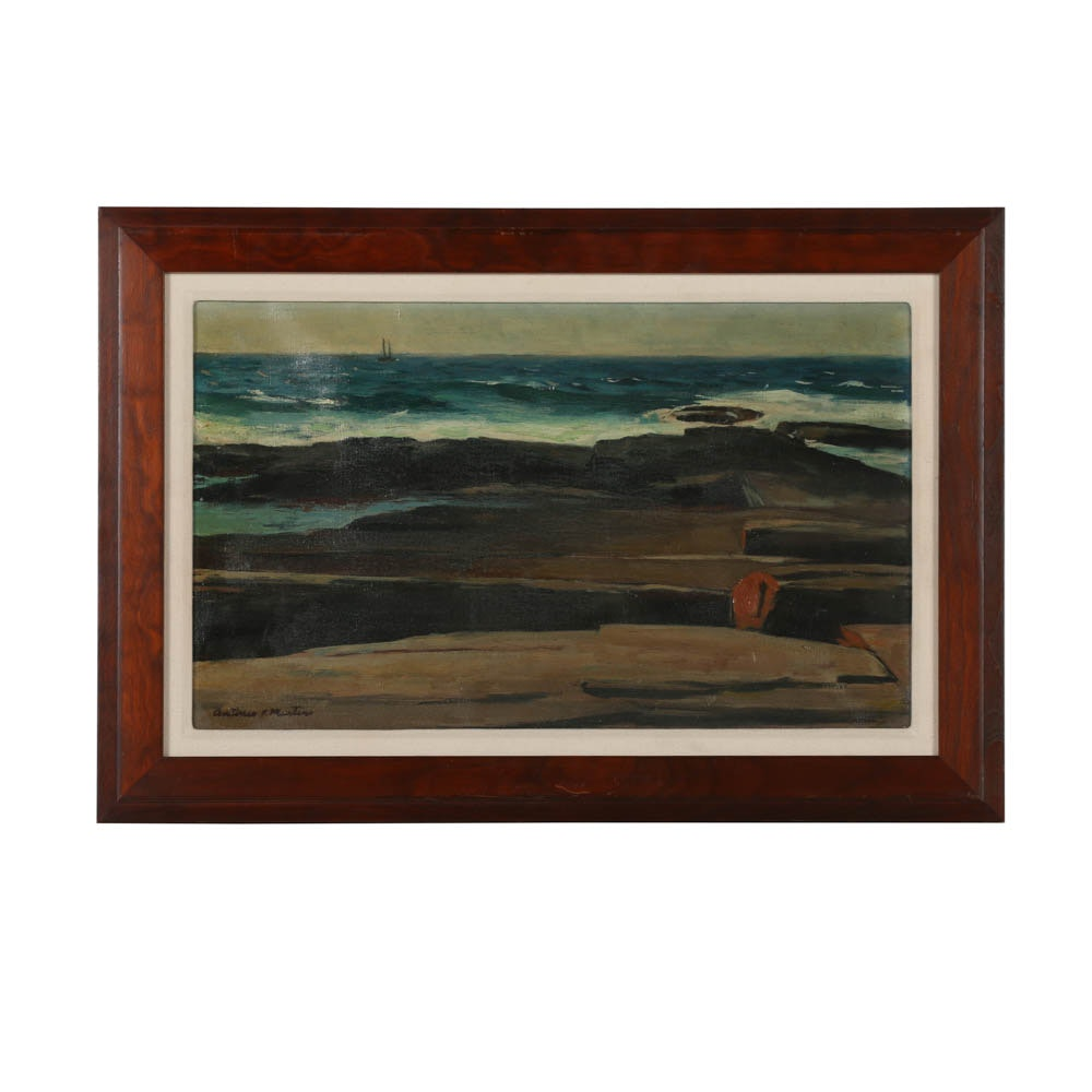 """Antonio Martino Oil Painting on Canvas """"Seascape - Two Lights"""""""