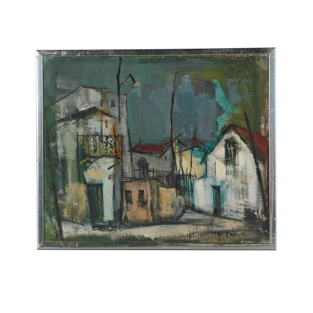 Oil Painting on Canvas of Abstract Arquitectural Scene