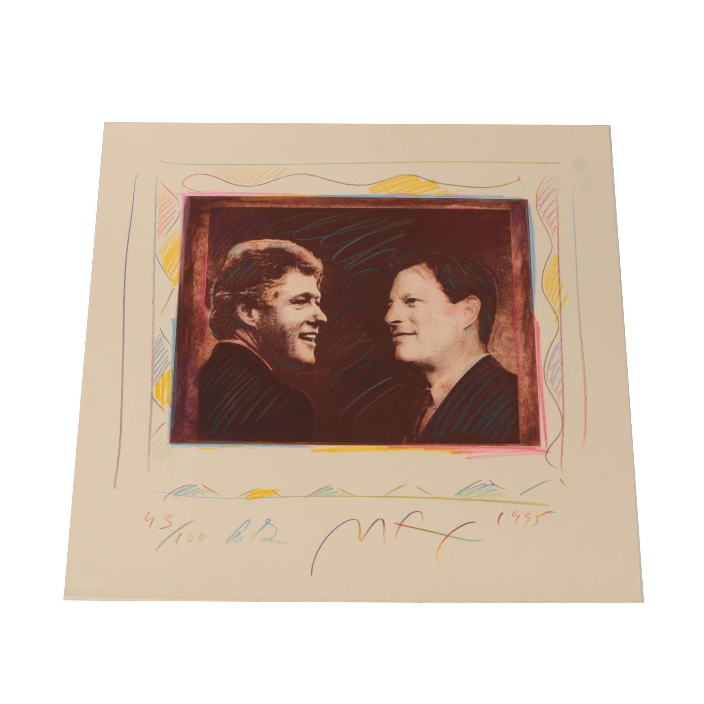 """Peter Max Limited Edition Intaglio """"The Vice President Salutes..."""""""