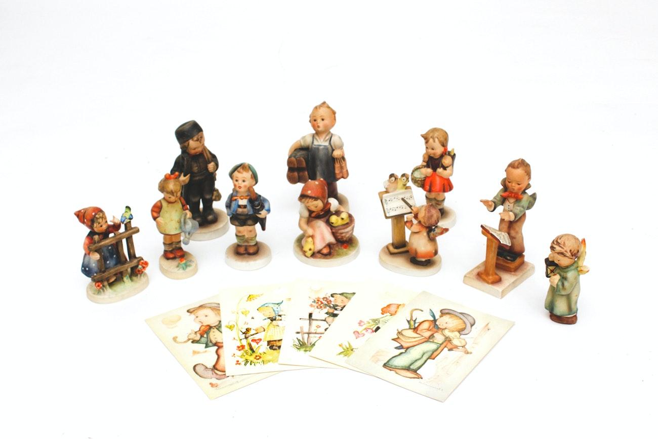Collection of Vintage Hummel Figurines & Postcards