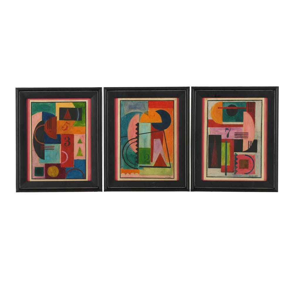 Collection of Mixed Media Paintings on Paper of Abstract Geometric Scenes