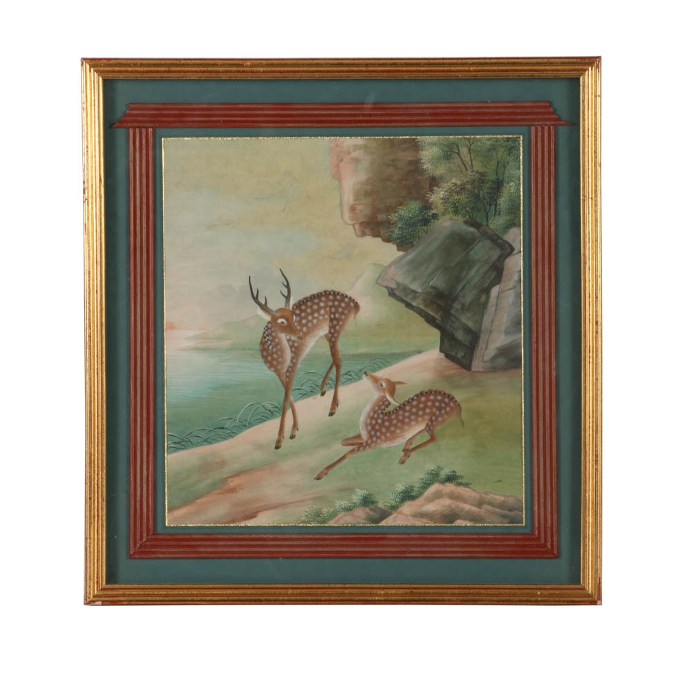 East Asian Gouache and Watercolor Painting on Paper of Deer