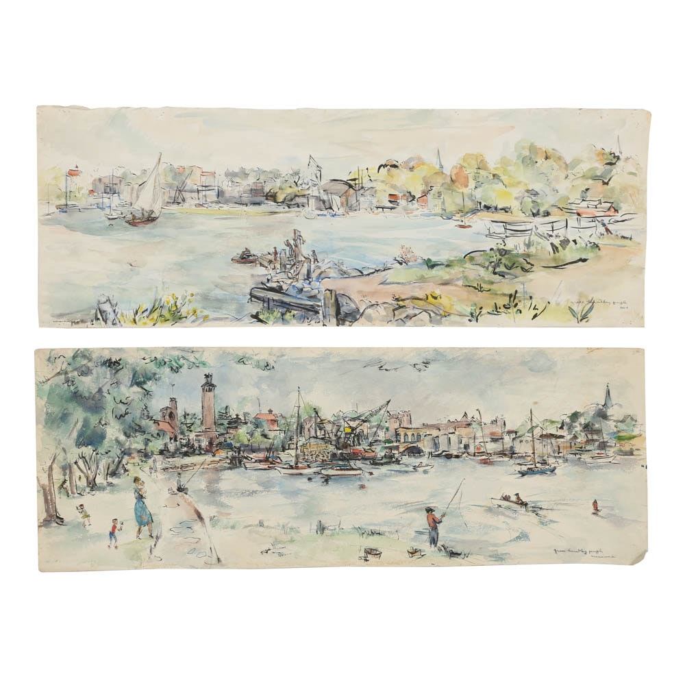 Pair of Grace Huntley Pugh Watercolors on Paper of Mamaroneck Cityscapes