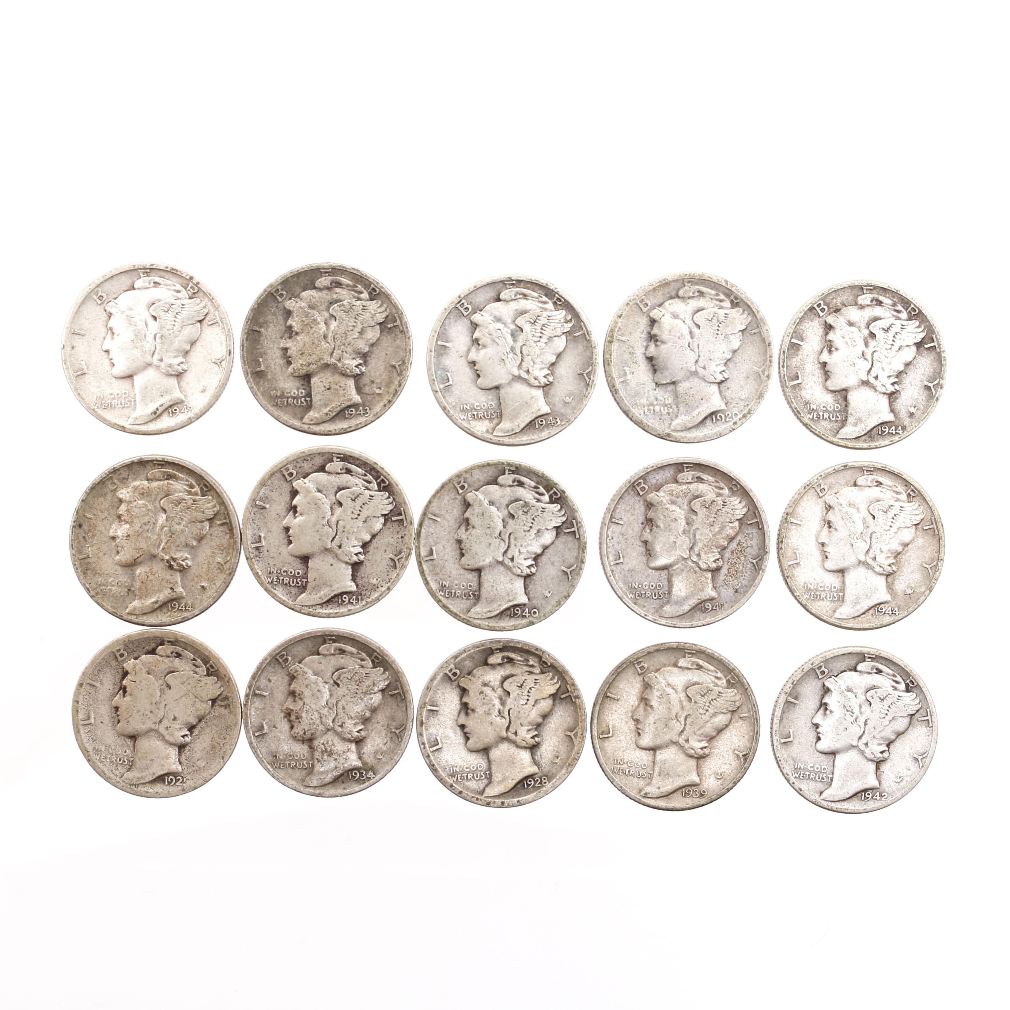 Fifteen Mercury Dimes