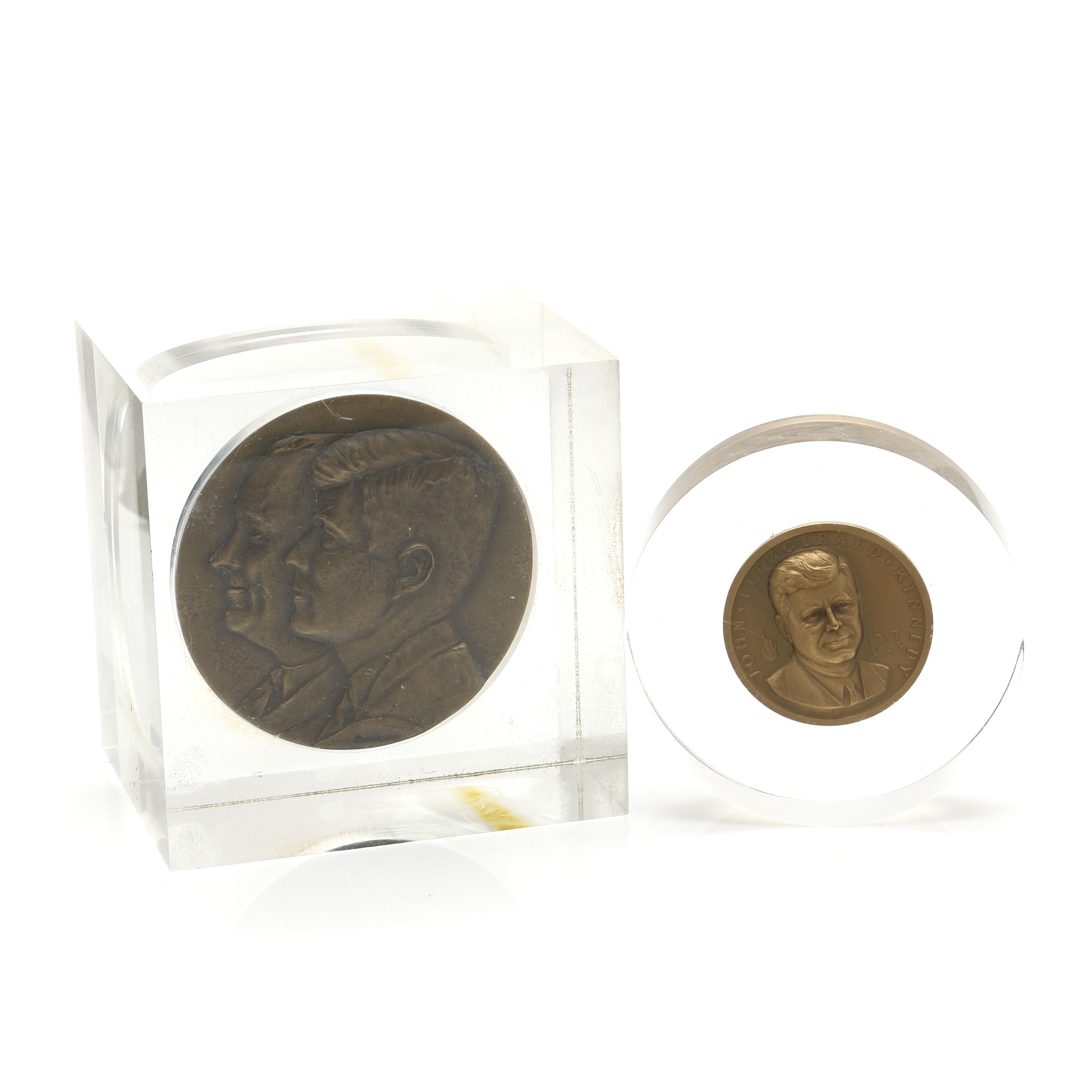 John F. Kennedy Commemorative Lucite Paper Weights