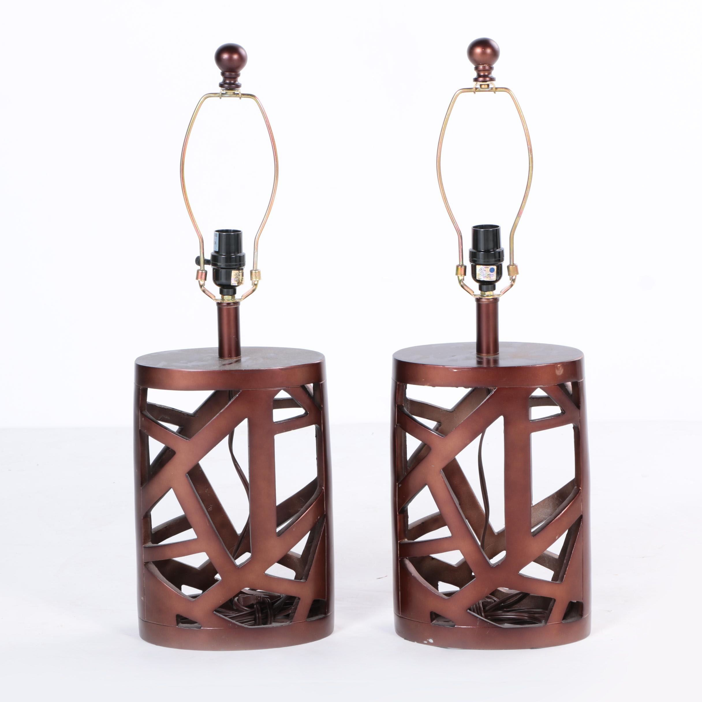 Pair of Contemporary Bronze Tone Table Lamps