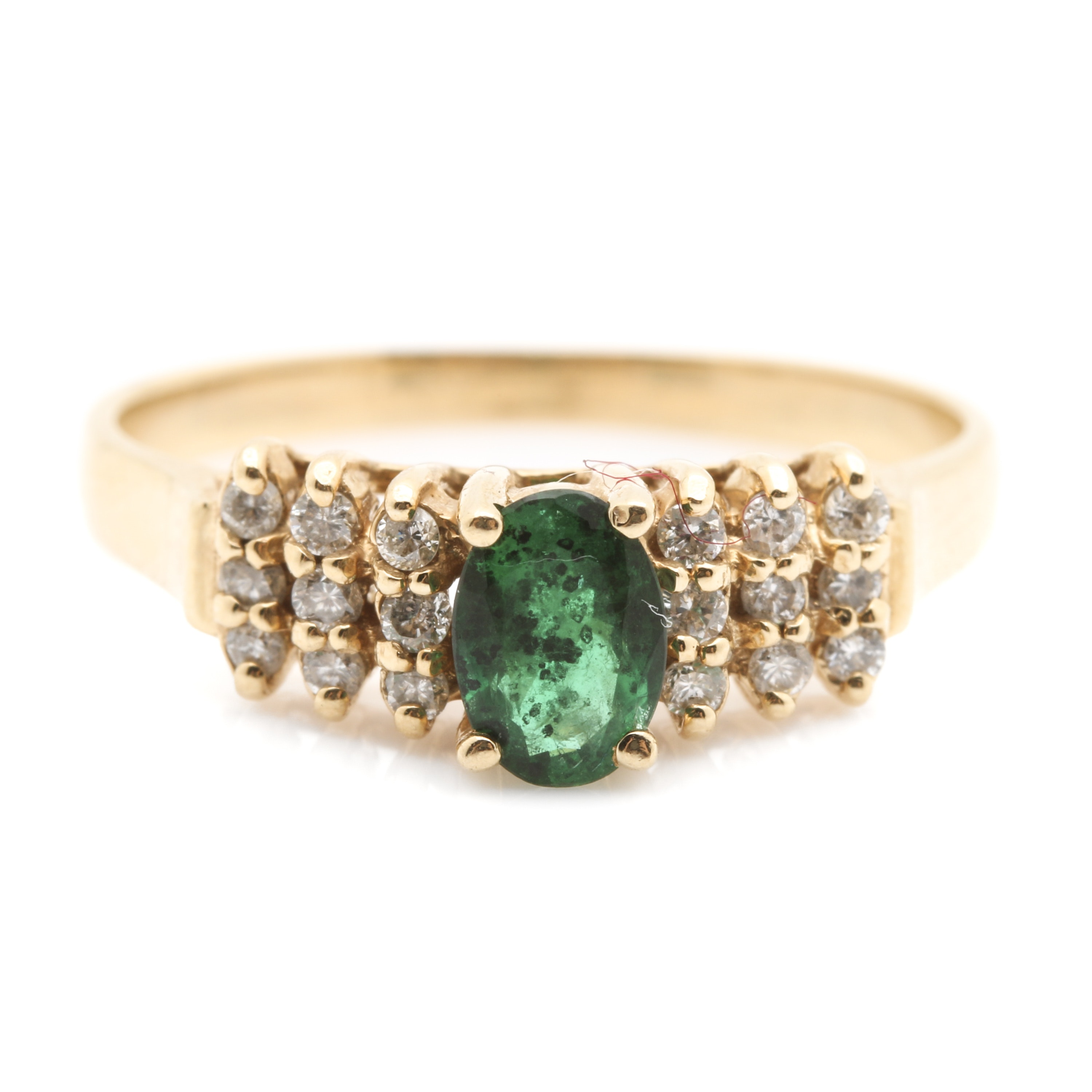 14K Yellow Gold Emerald and Diamond Accent Ring