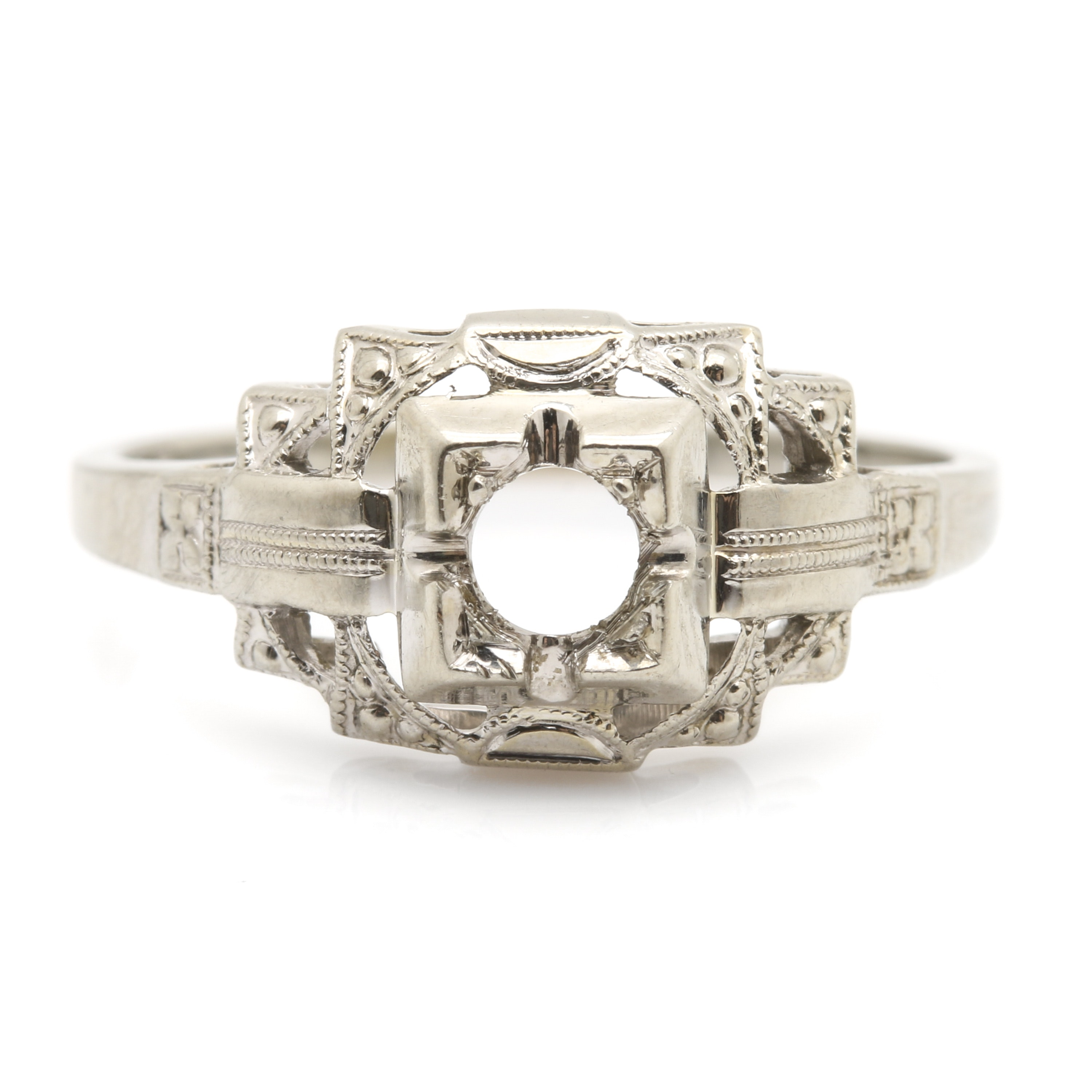 18K White Gold Art Deco Ring Mounting