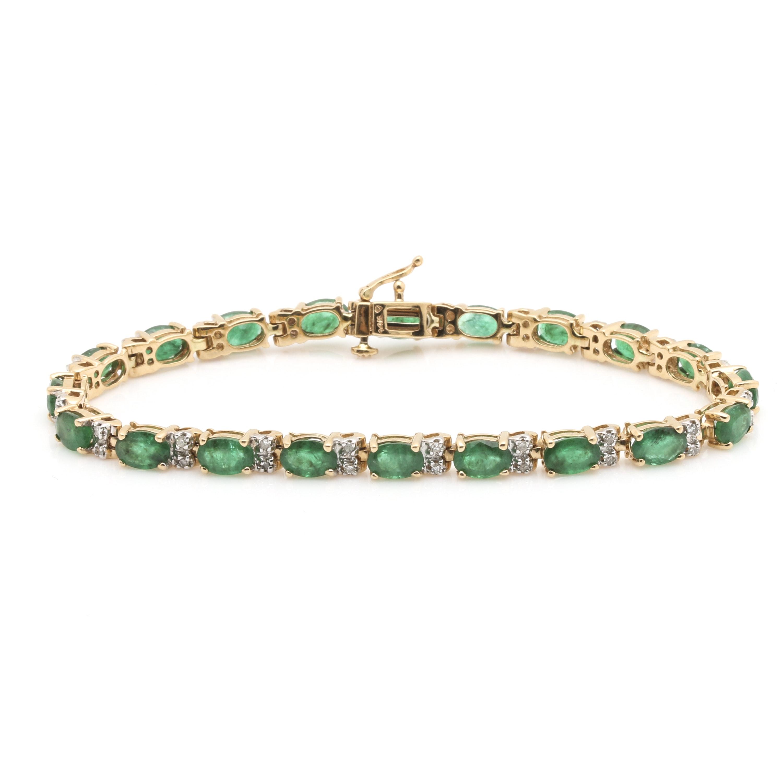14K Yellow Gold 9.20 CTW Emerald and Diamond Bracelet