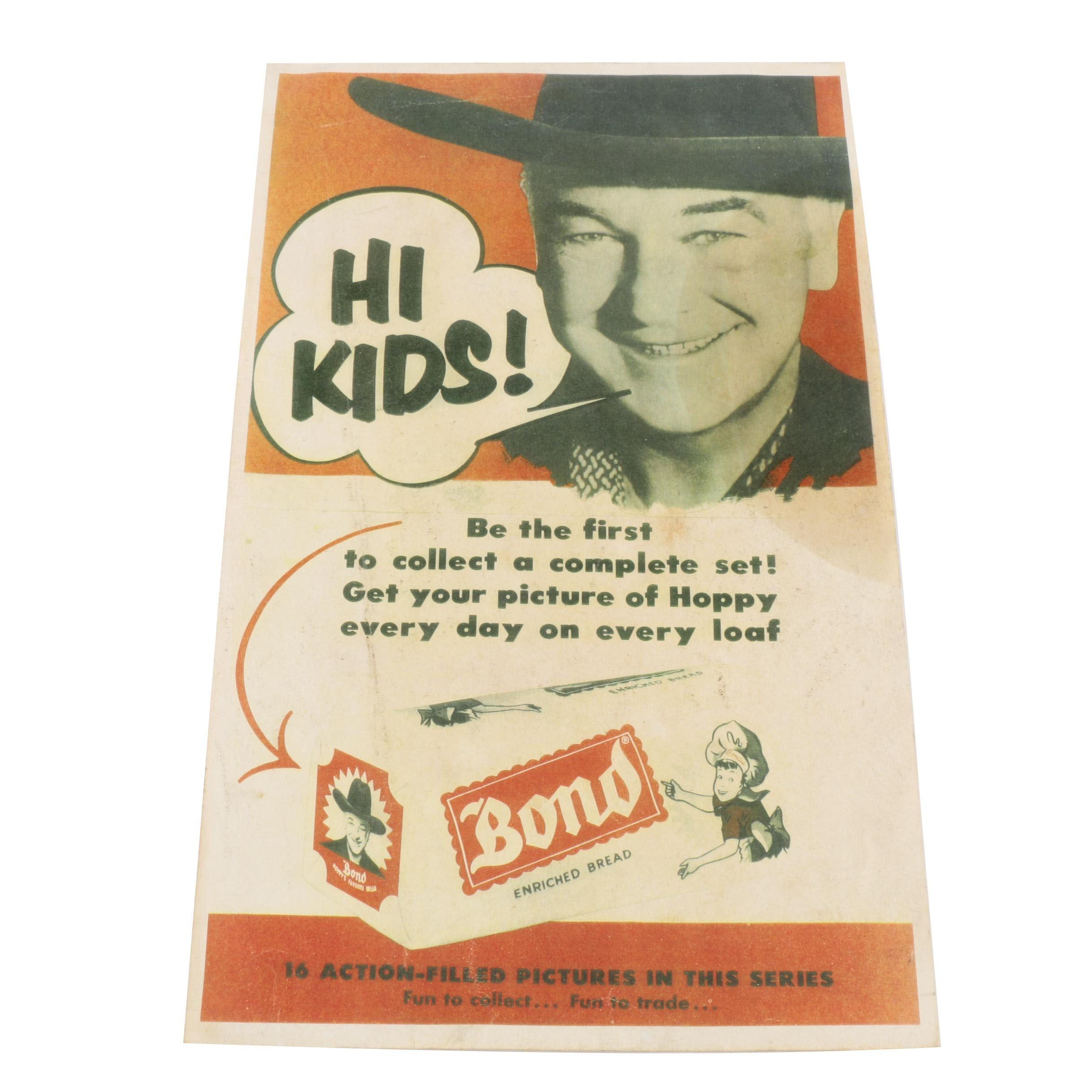 Vintage Hopalong Cassidy for Bond Enriched Bread Poster