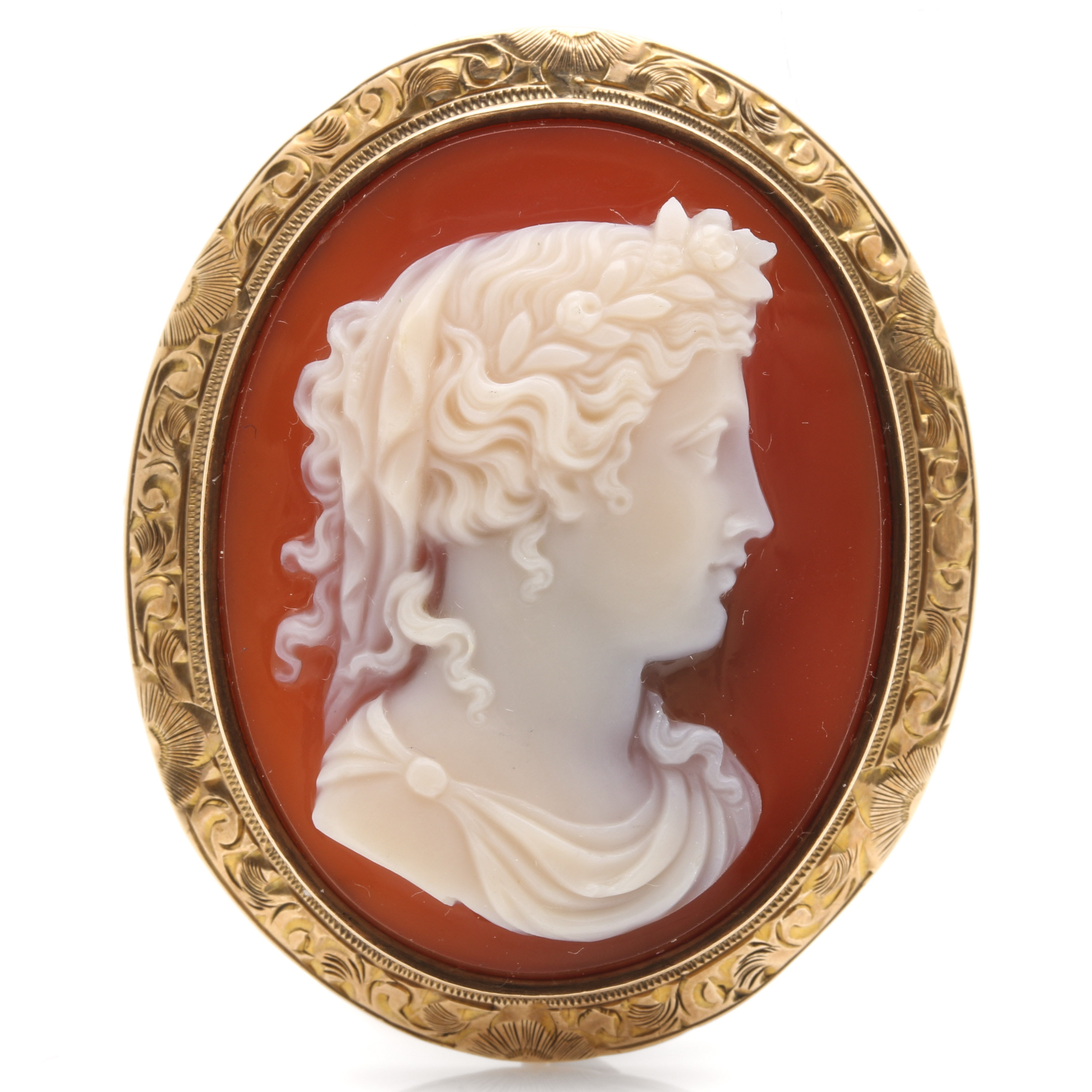 10K Yellow Gold Agate Cameo Brooch