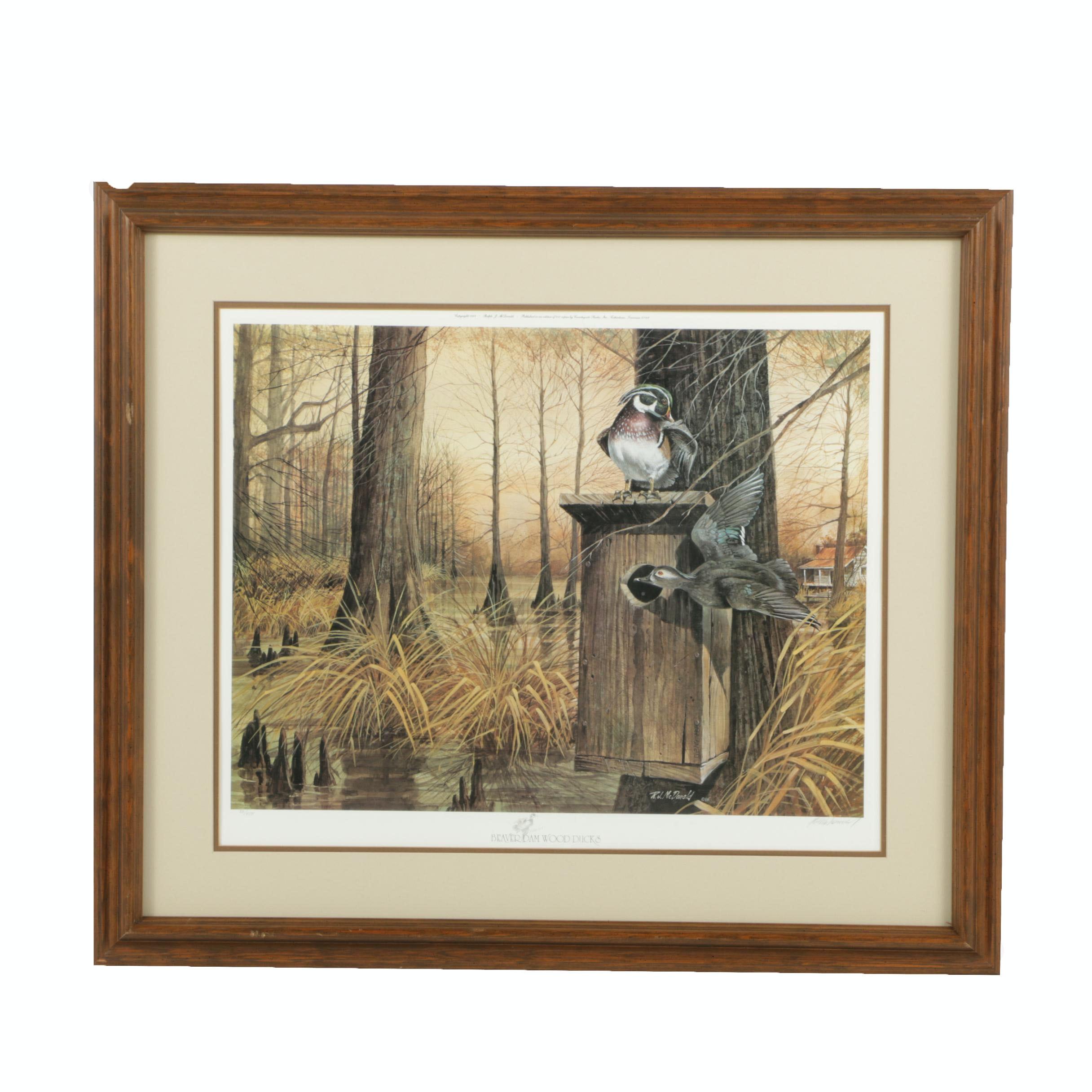 "Ralph McDonald Limited Edition Offset Lithograph ""Beaverdam Wood Ducks"""