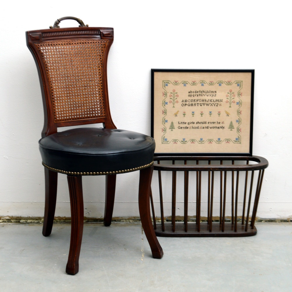 Vintage Chair, Needlepoint and Magazine Rack