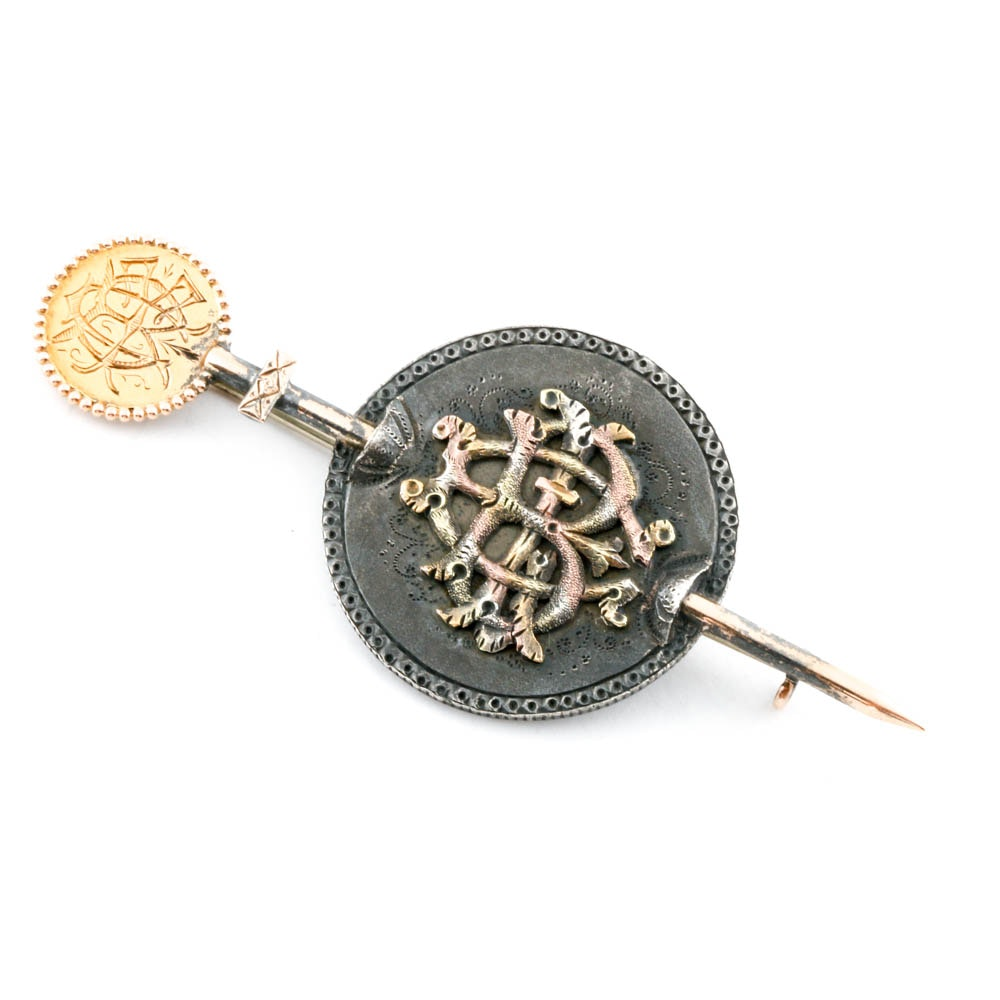 "Victorian Gold and Silver Coins ""Love Token"" Brooch"