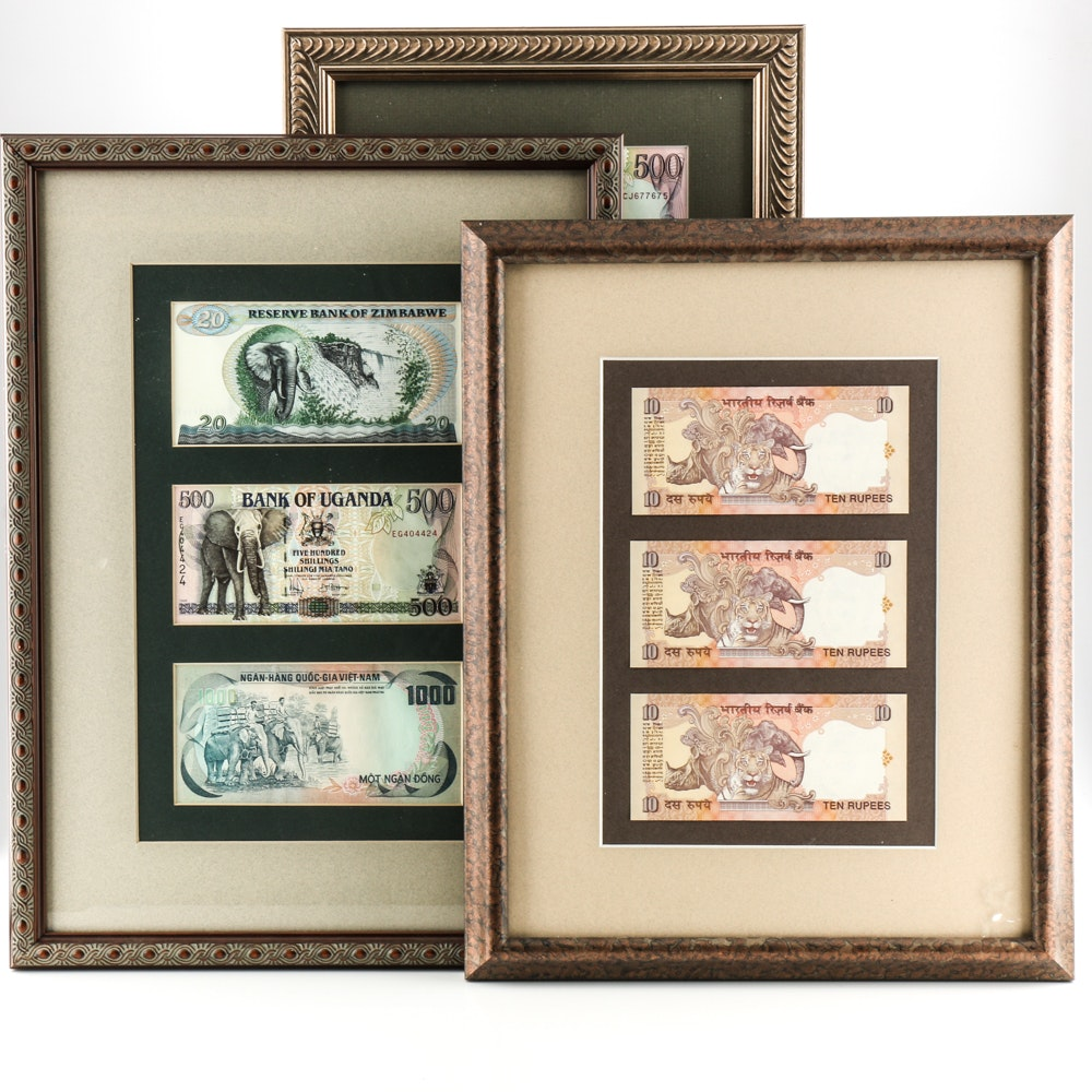 Framed Foreign Currency Collection