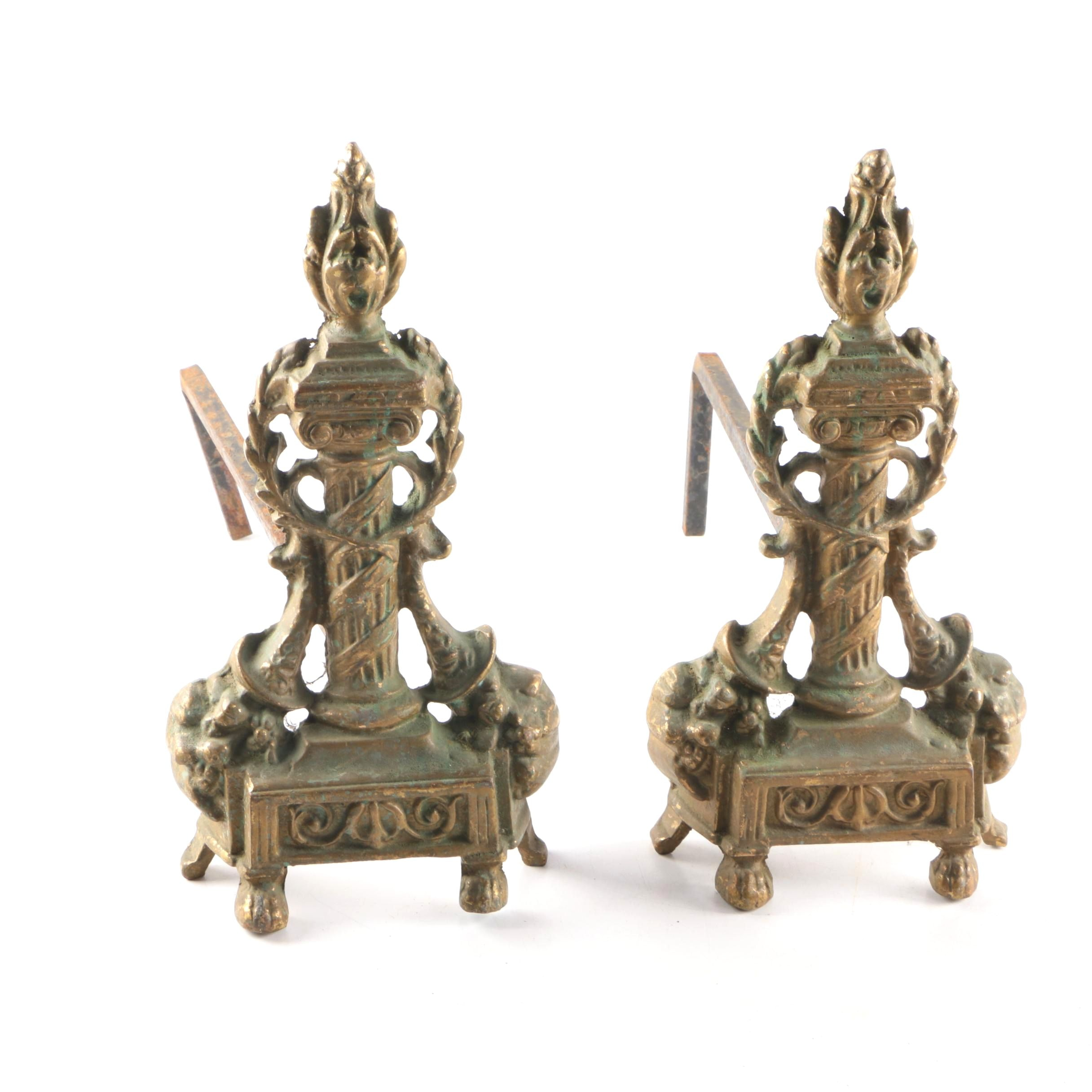 Decorative Vintage Louis XVI Style Brass Andirons