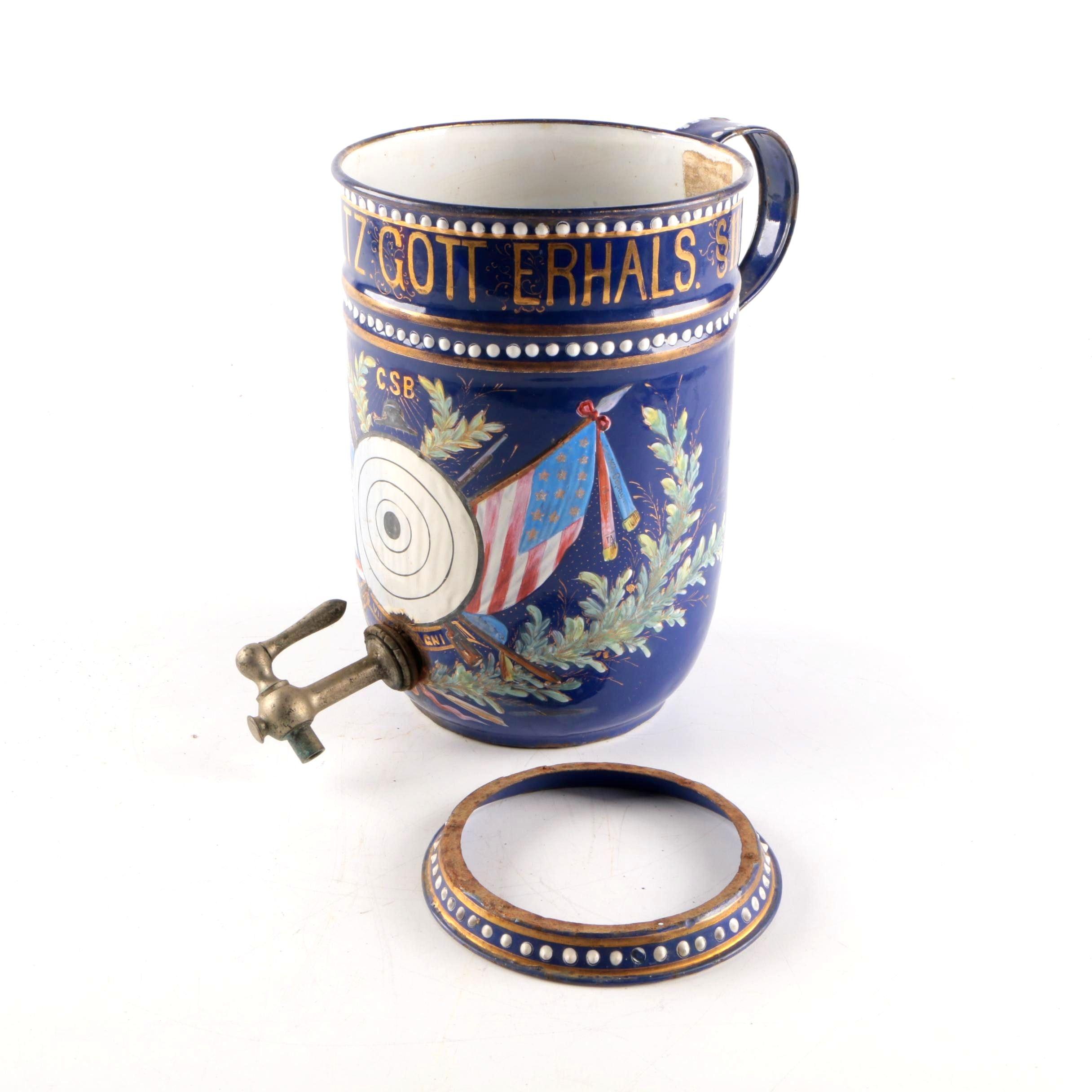 Antique German Hand-painted Enamel Stein With Spigot