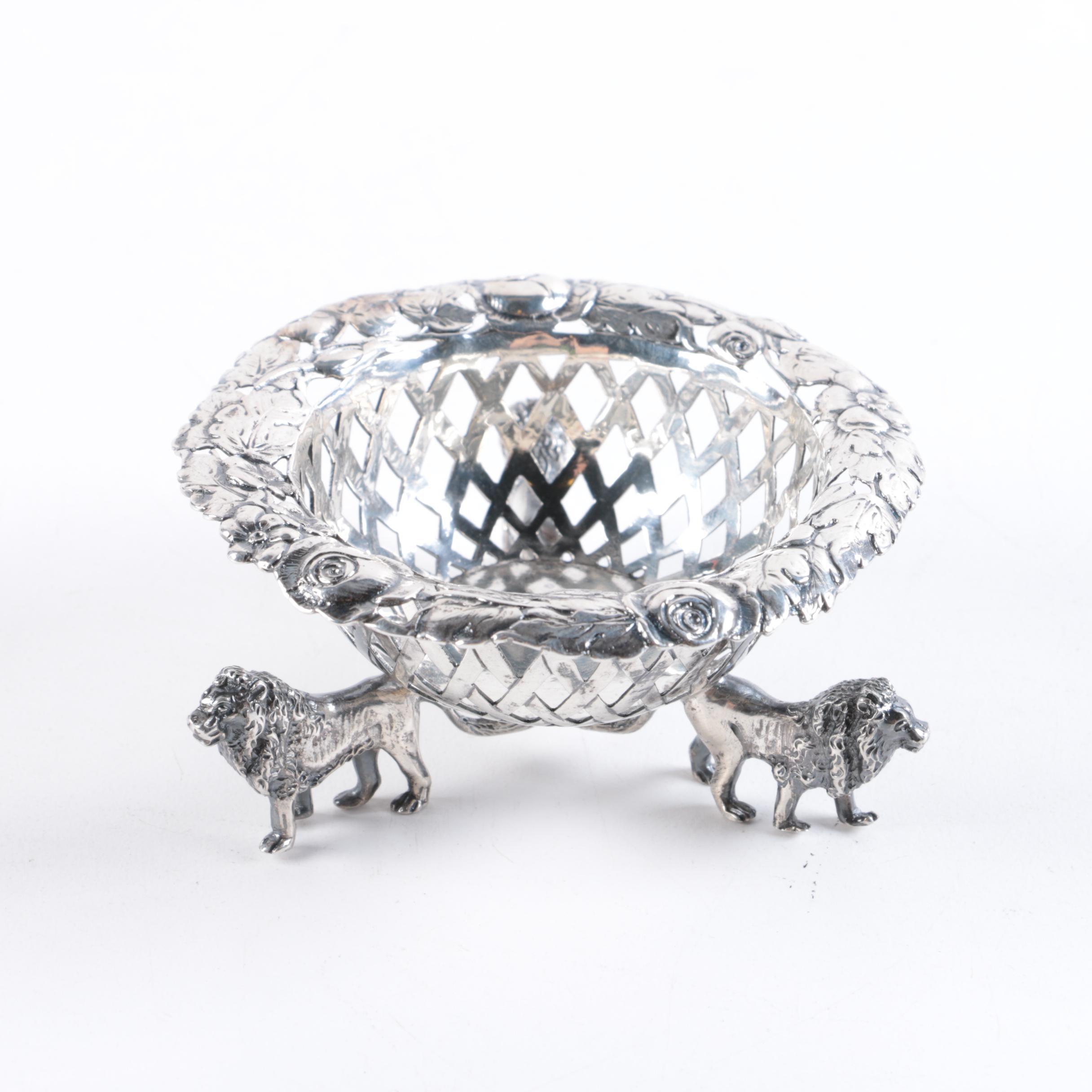 Vintage German 800 Silver Lattice Bowl With Tripod Lion Base