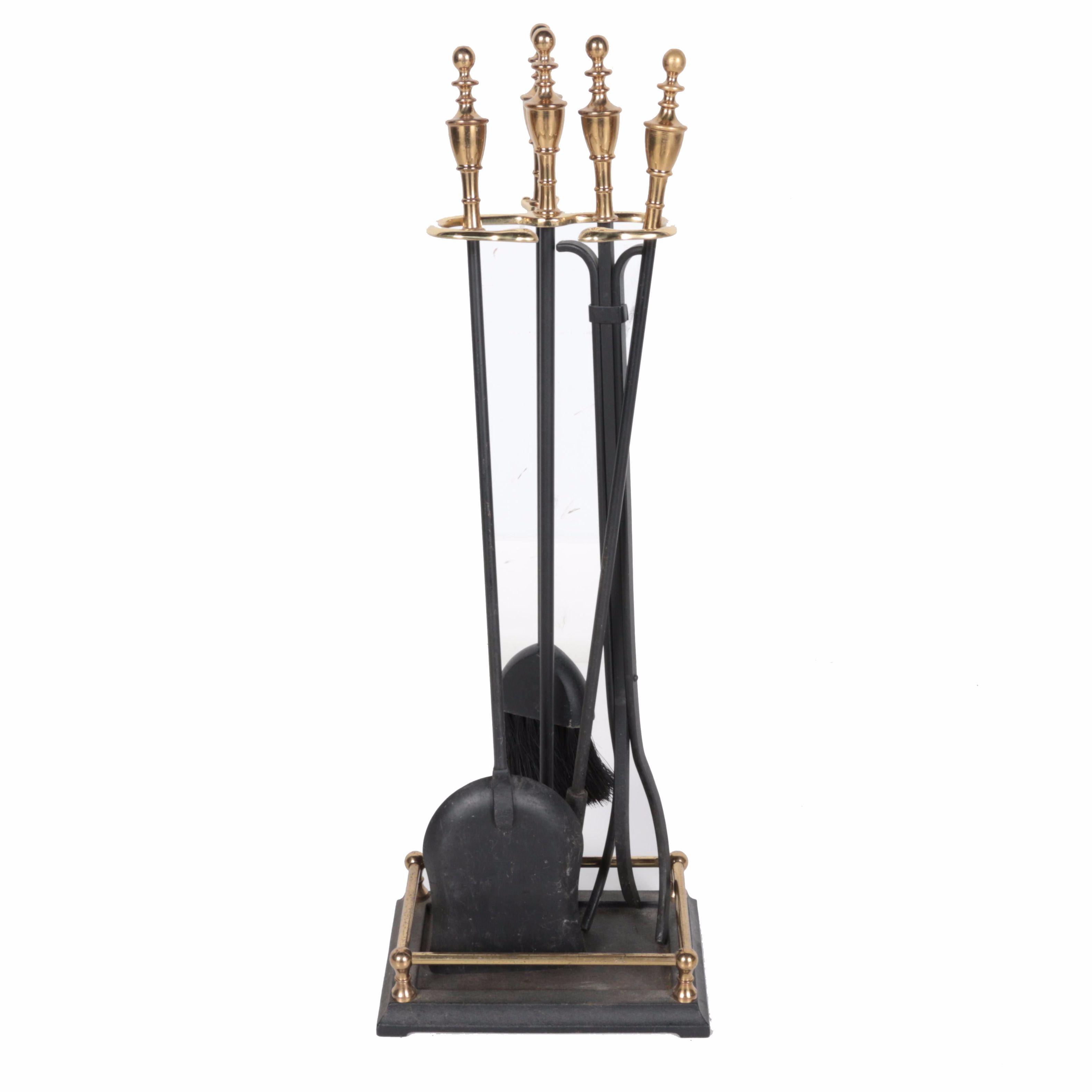 Pilgrim Brass and Iron Fireplace Tool Set