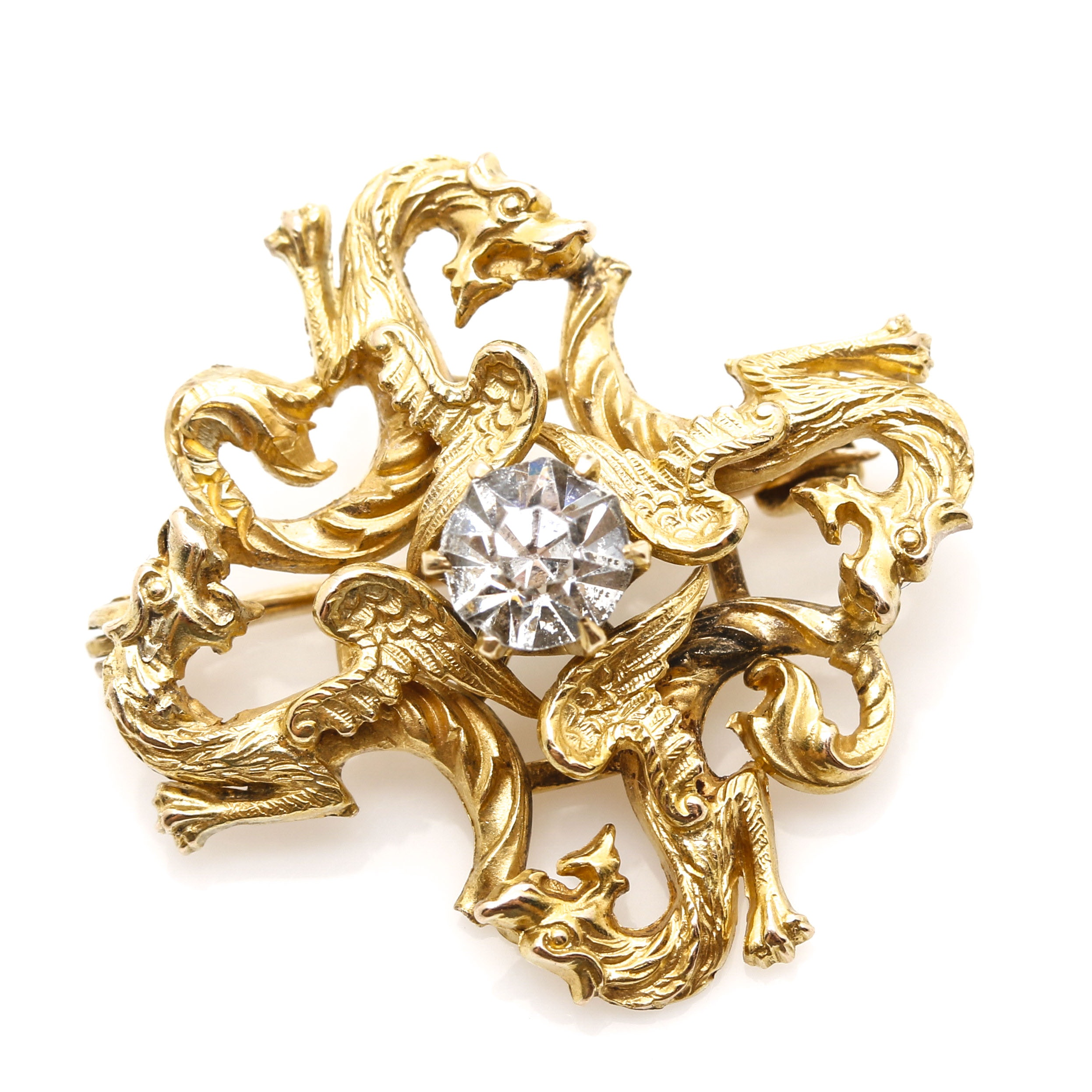 Fin de Siecle 8K and 10K Yellow Gold and Glass Dragon Brooch