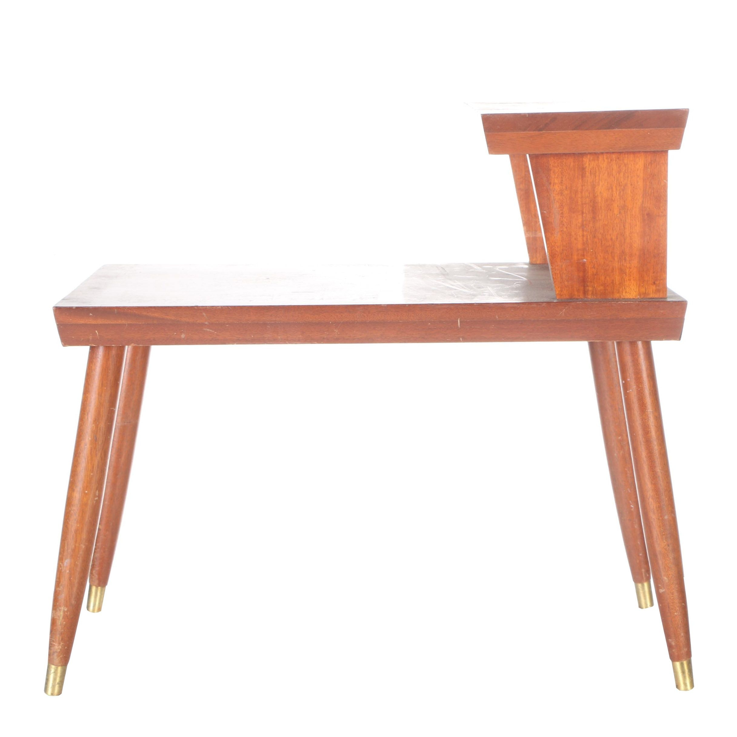 Mid Century Modern Two-Tier Wooden End Table