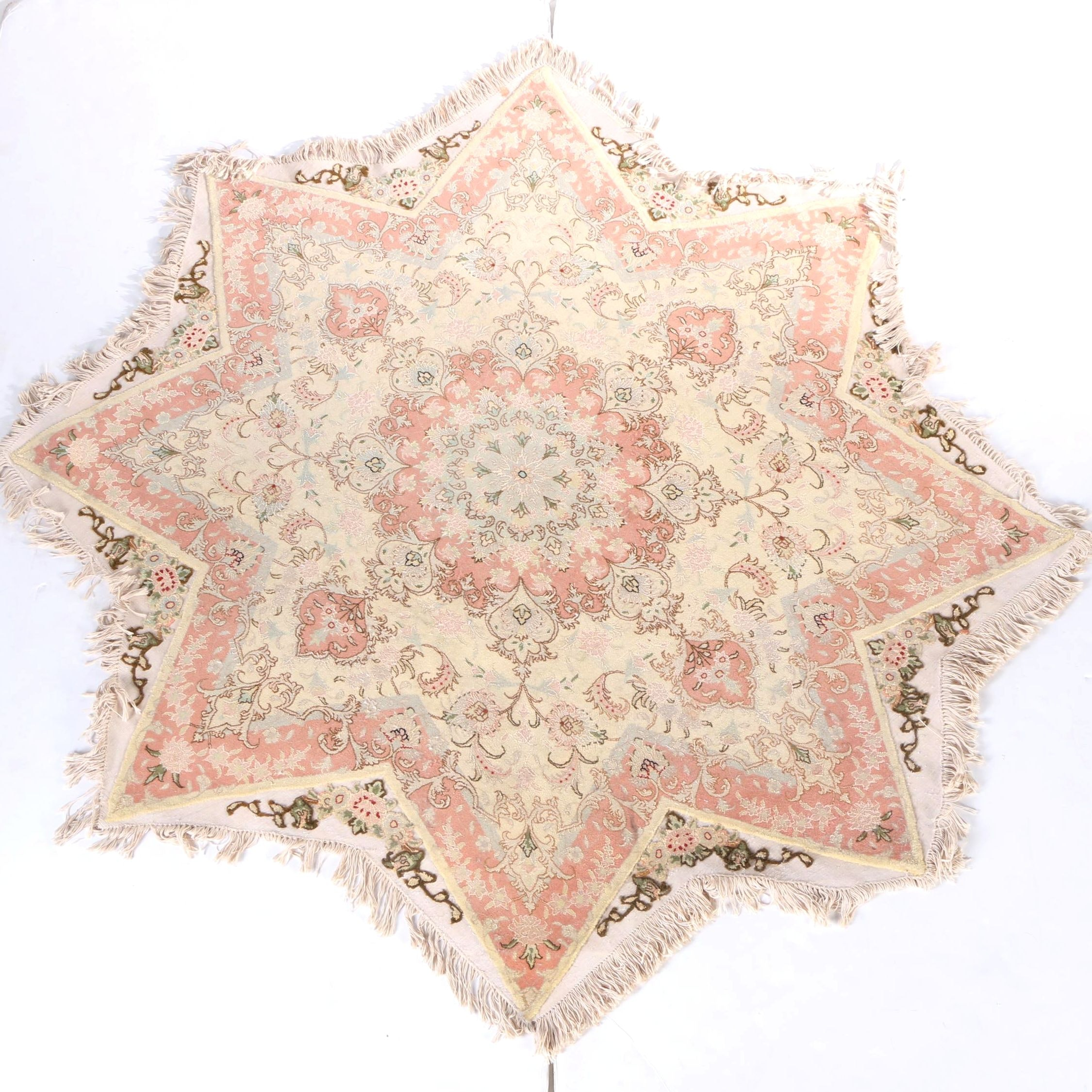 Hand-Knotted Persian Star-Shaped Area Rug