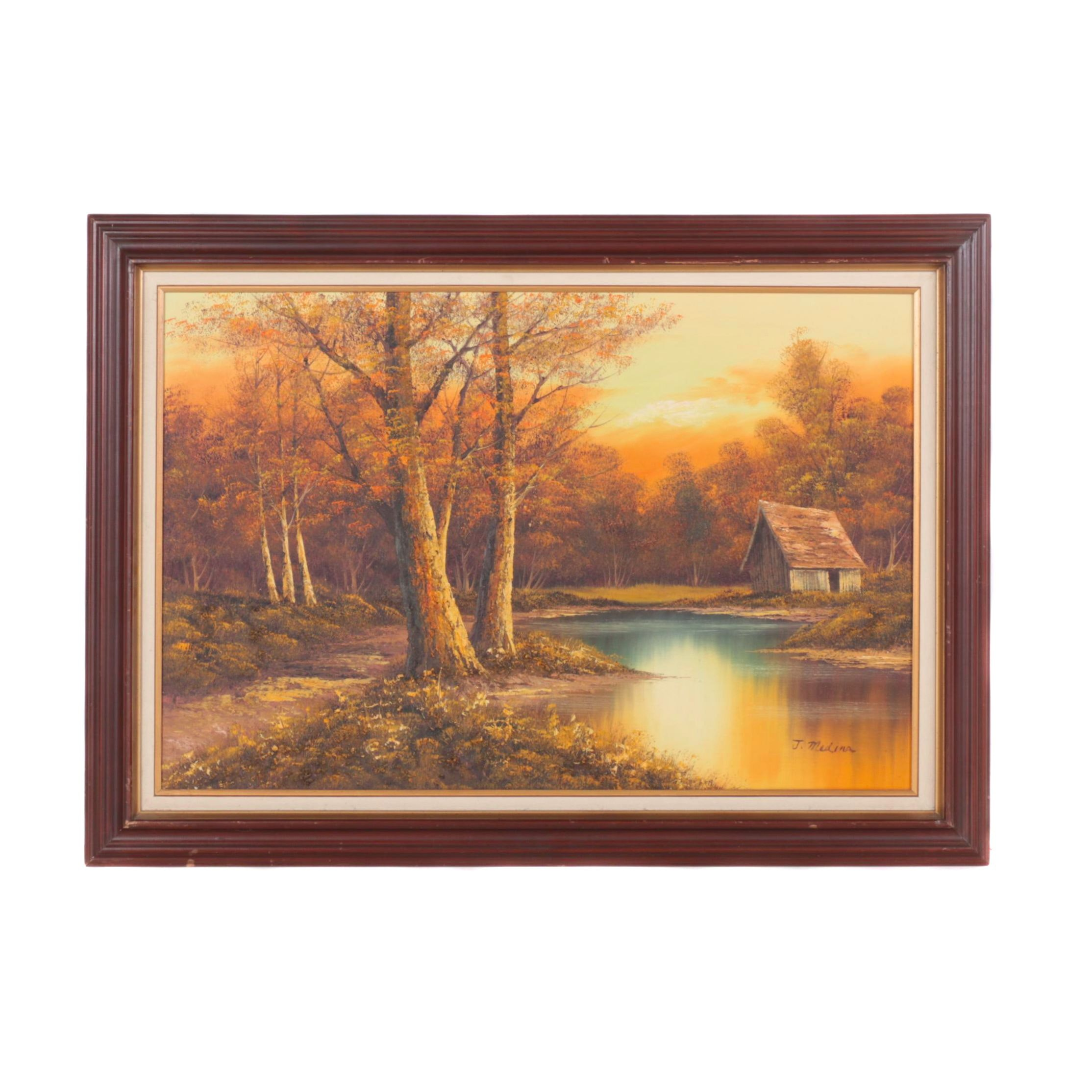 German Oil on Canvas Landscape Painting