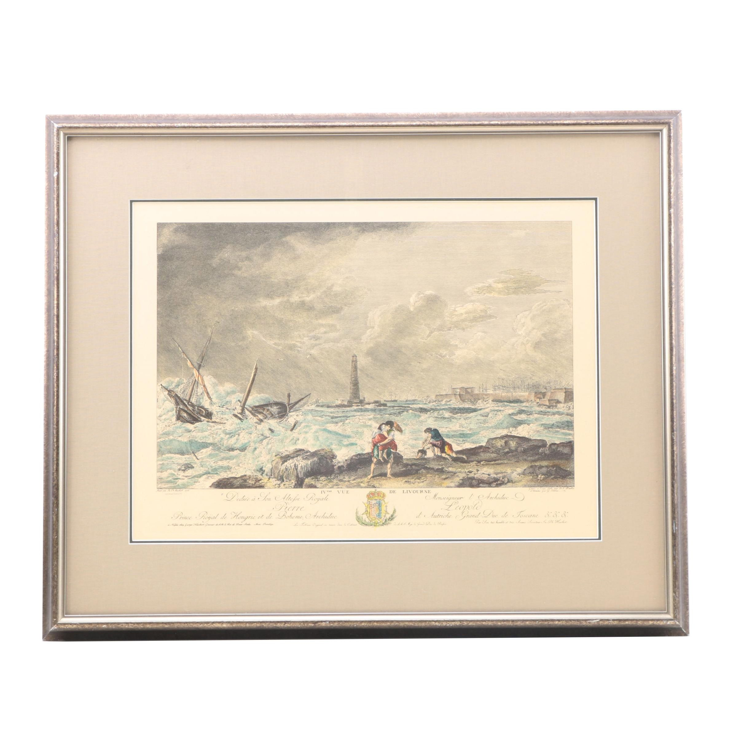 Hand-colored Lithograph after an Etching of Shipwreck