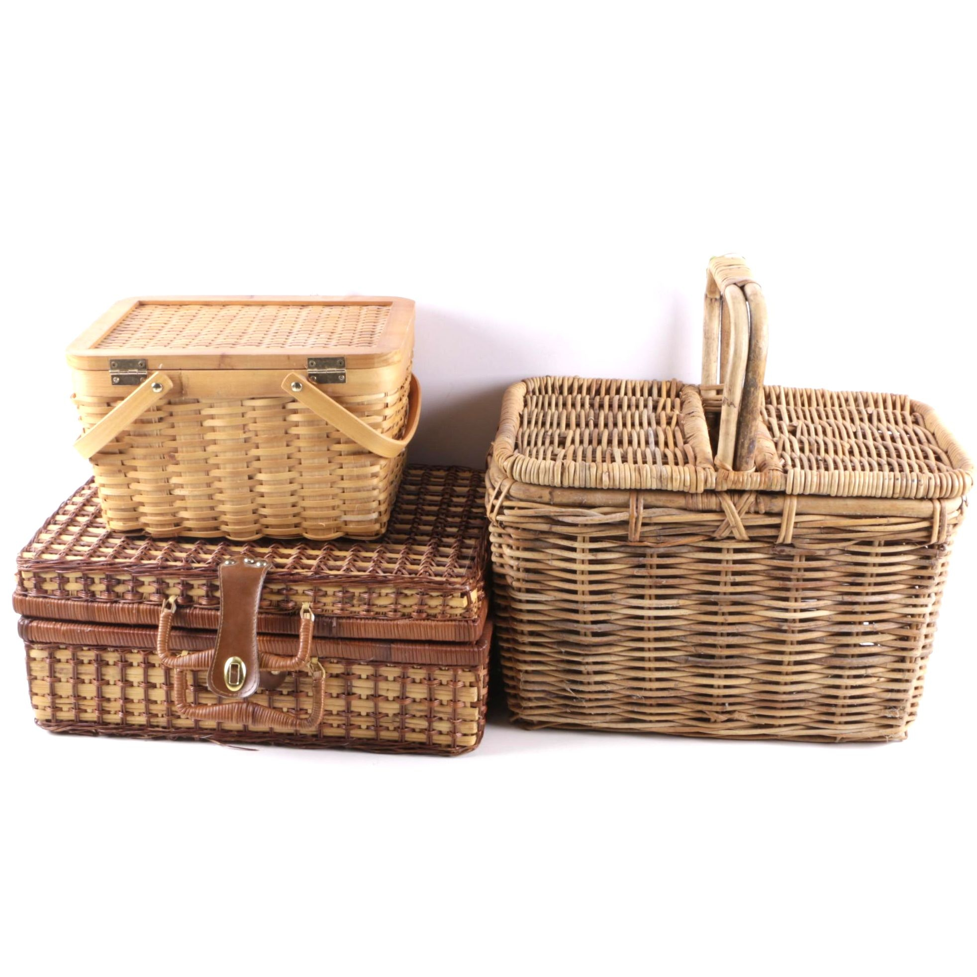 Three Wooden Wicker Picnic Baskets
