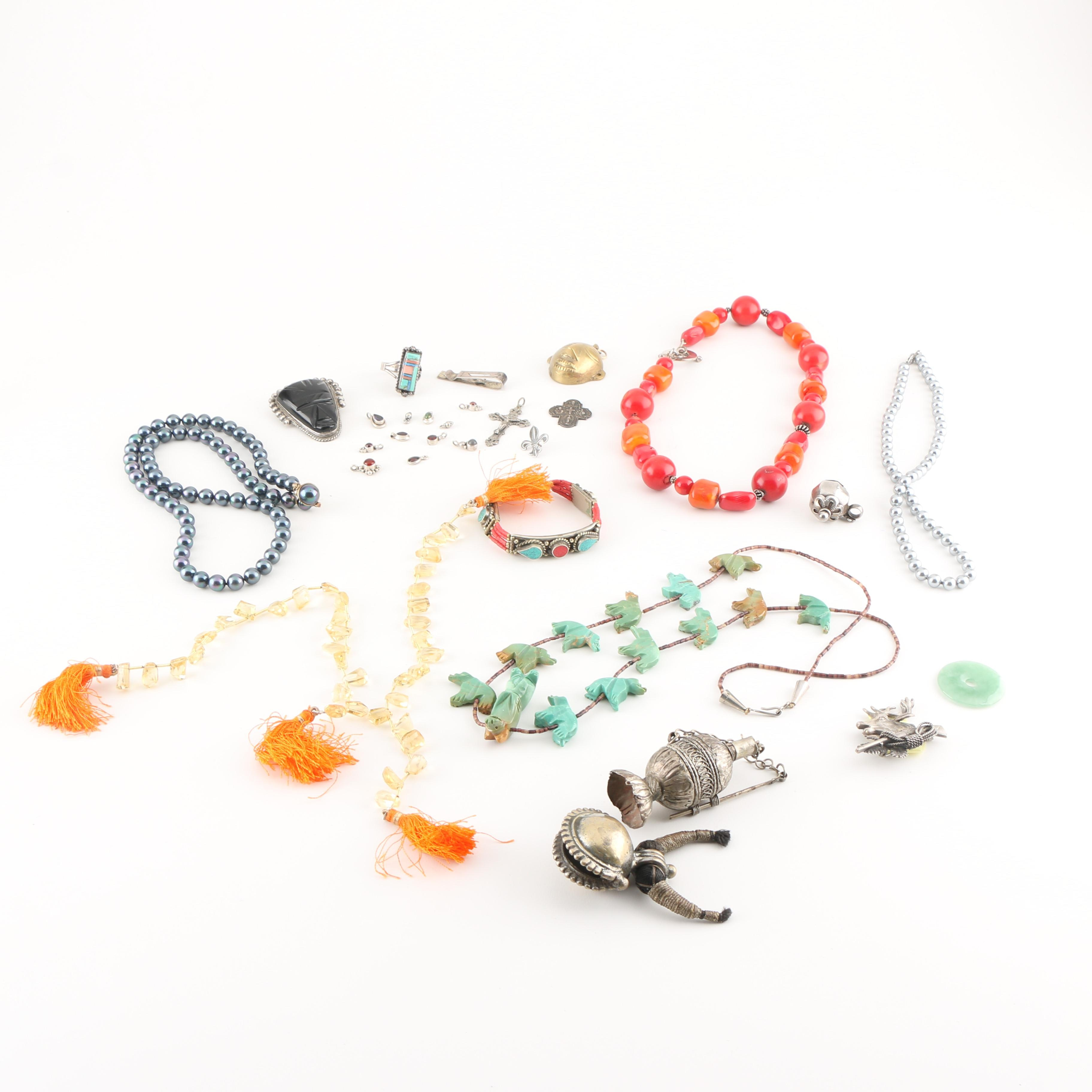 Assortment of Costume and Sterling Silver Jewelry Featuring Gemstones
