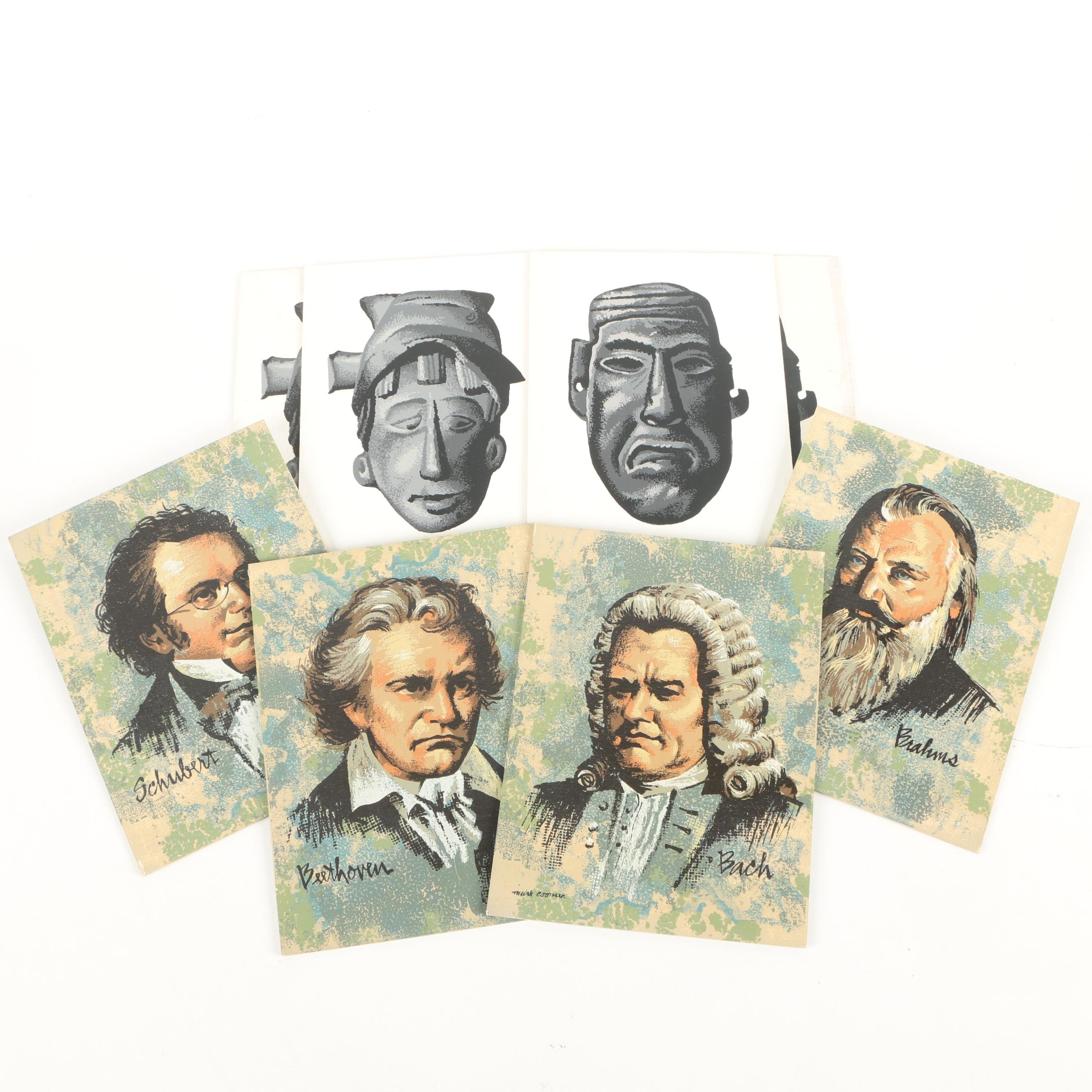 Mark Coomer Serigraphs of Composers and Masks