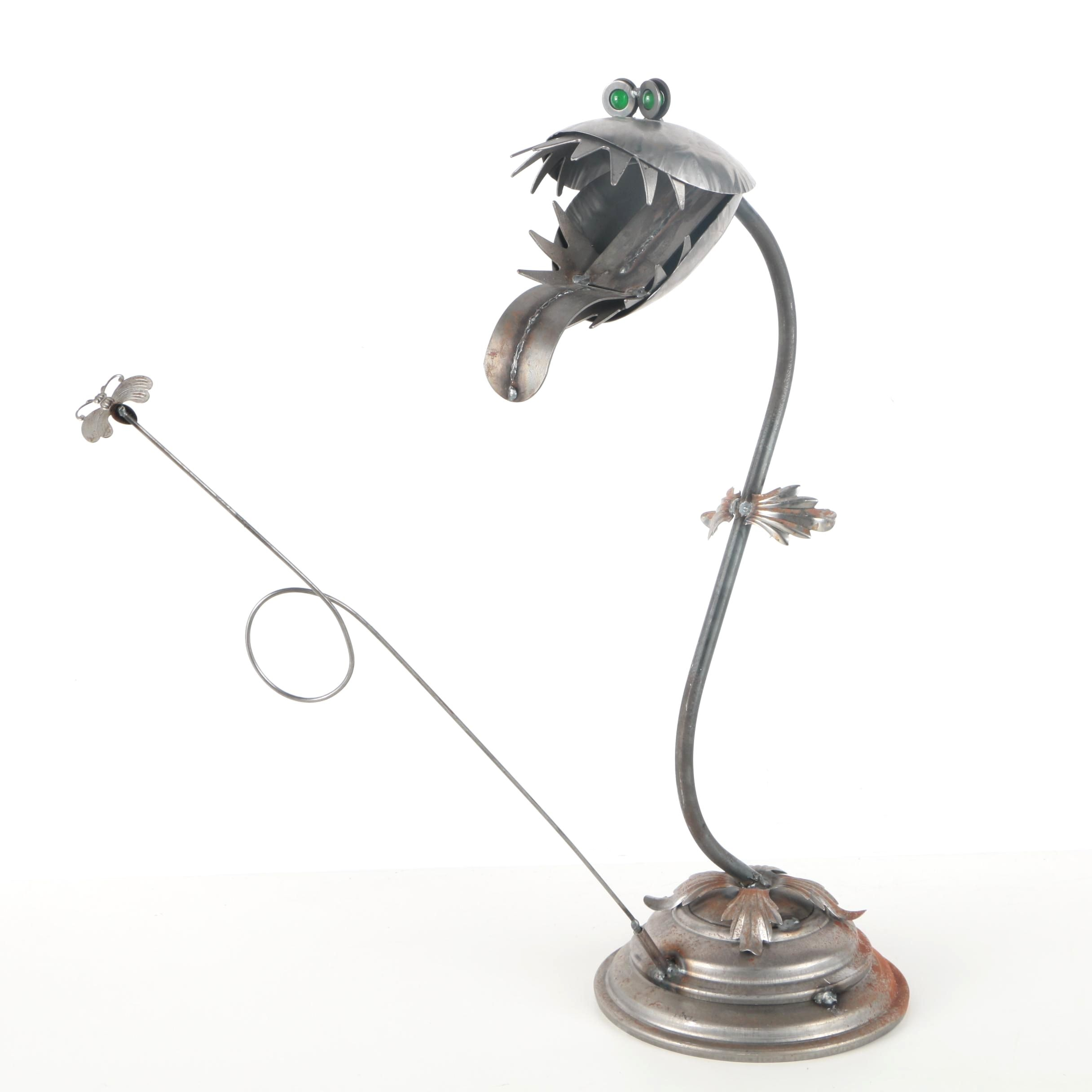 Steampunk Style Metal Sculpture of a Venus Flytrap and Fly