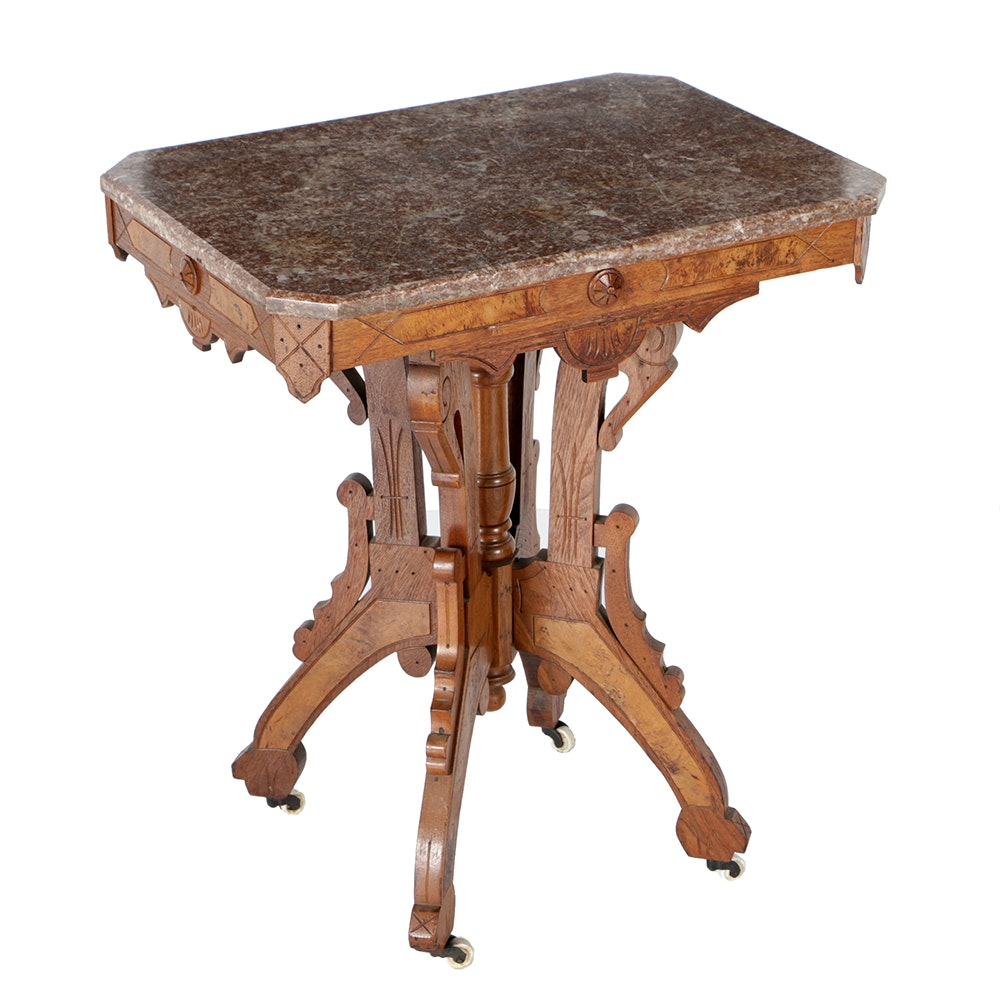 Eastlake-Style Marble Top Accent Table