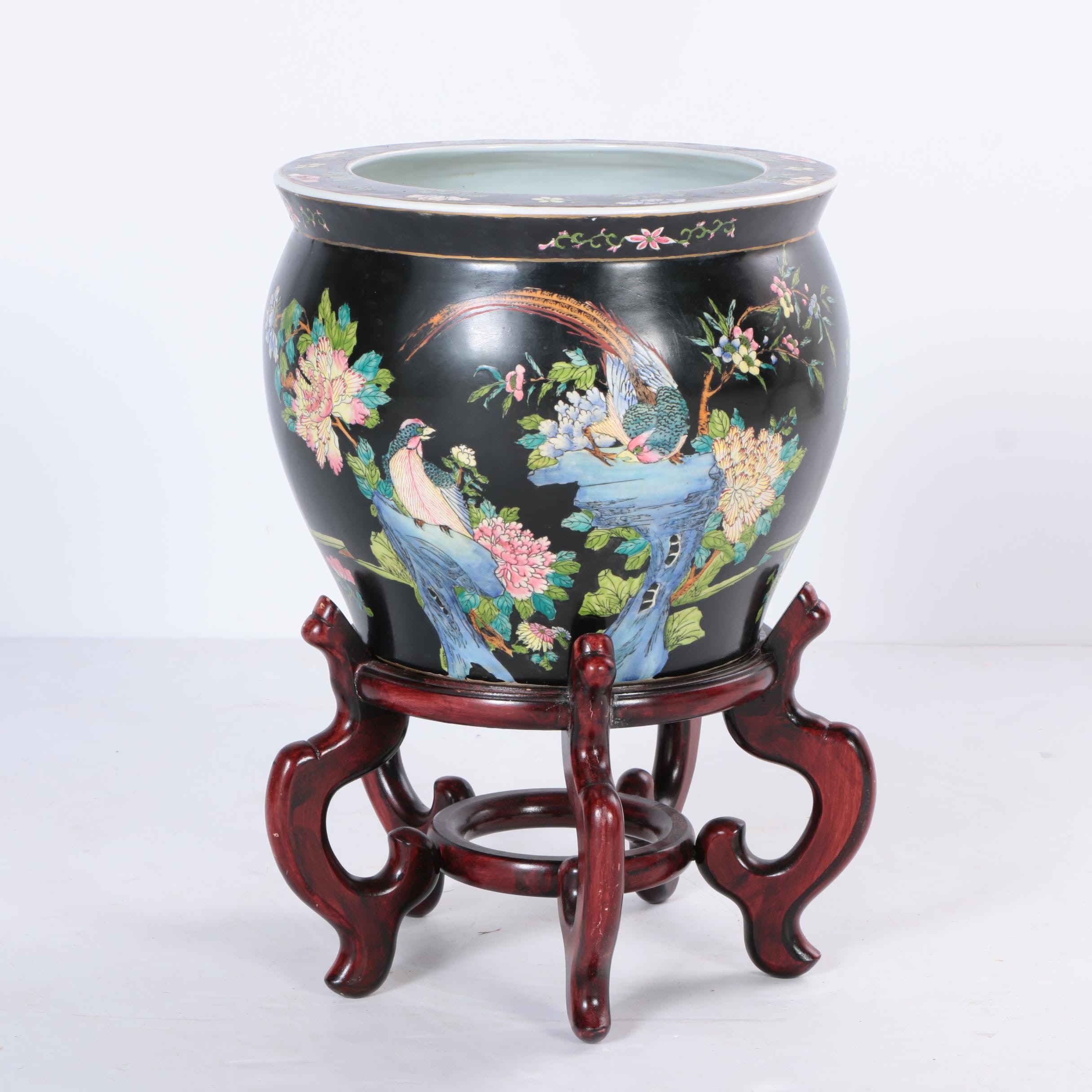 Chinese Porcelain Fish Bowl Planter On Wood Stand
