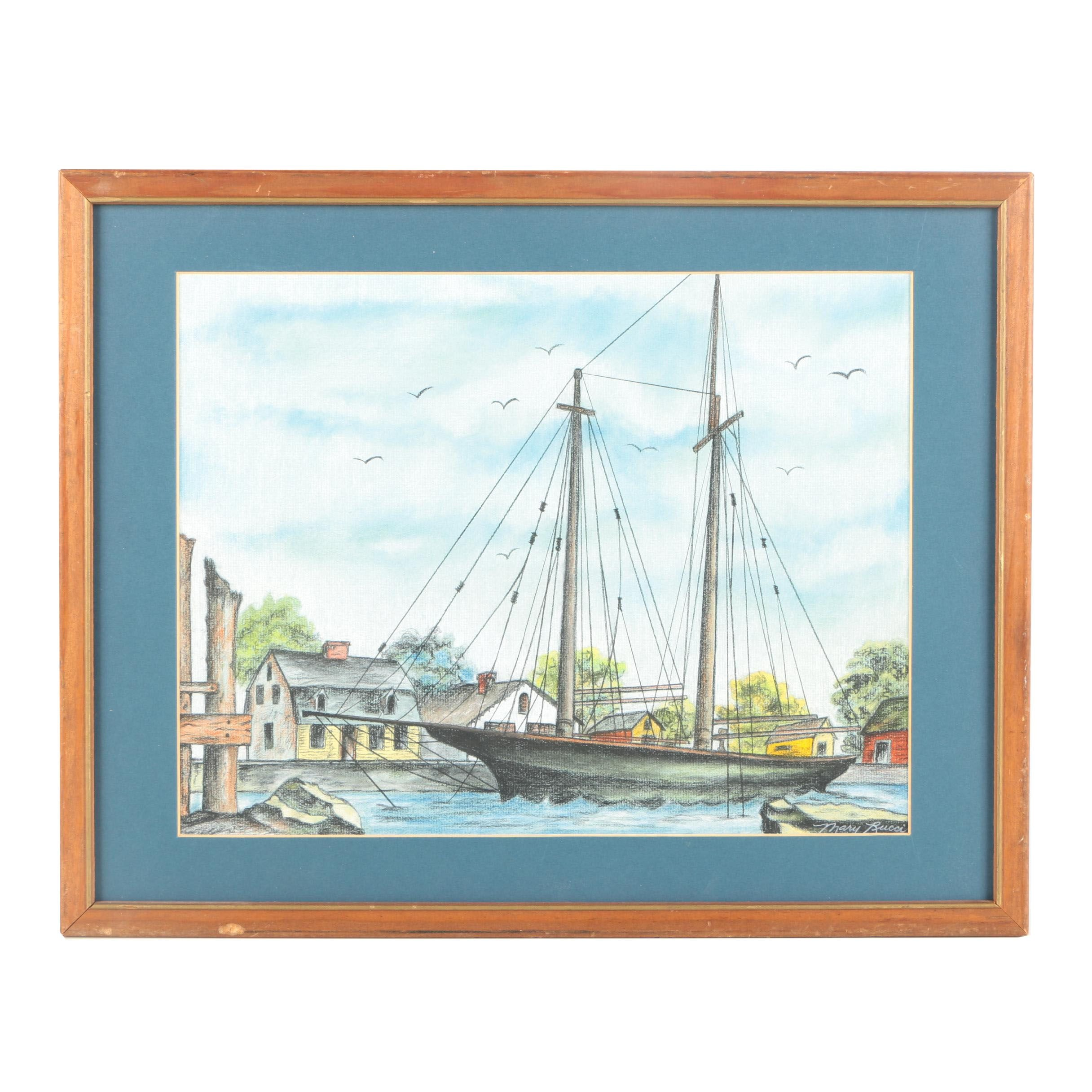 Mary Rucci Pastel Drawing of a Sailboat in a Harbor