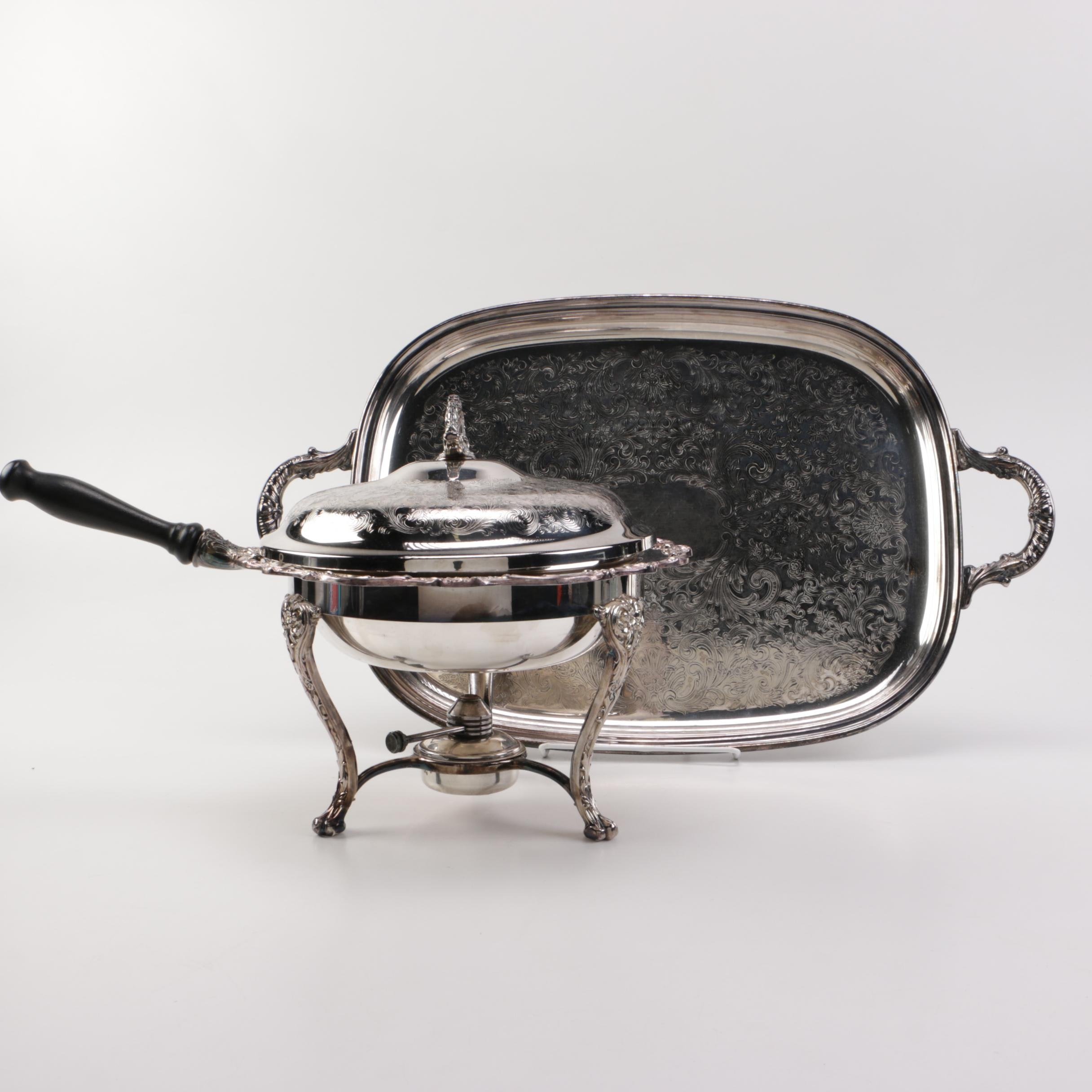 Silver Plated Chafing Dish with Tray