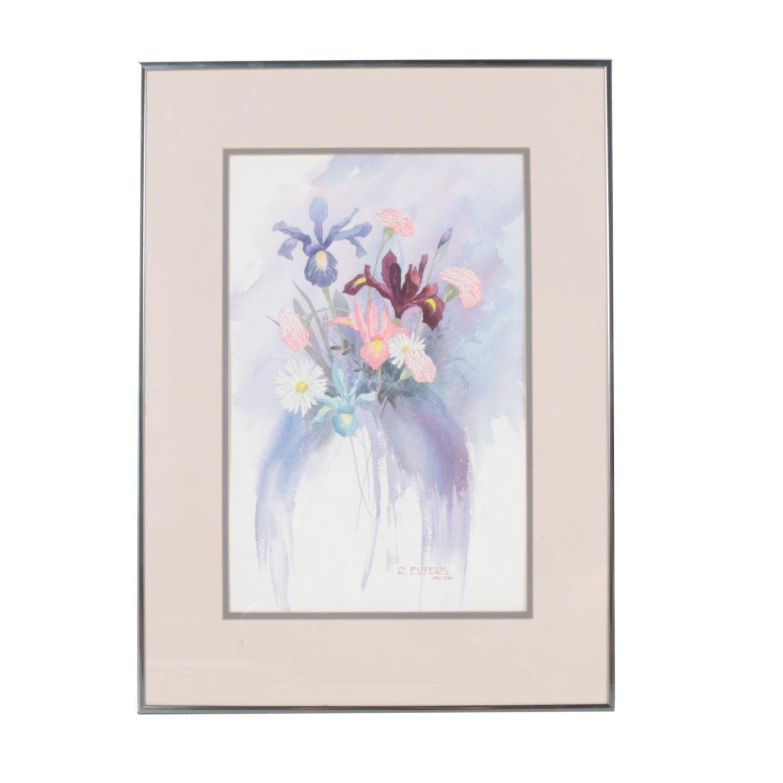Pairing of Robert Elfers Floral Watercolors