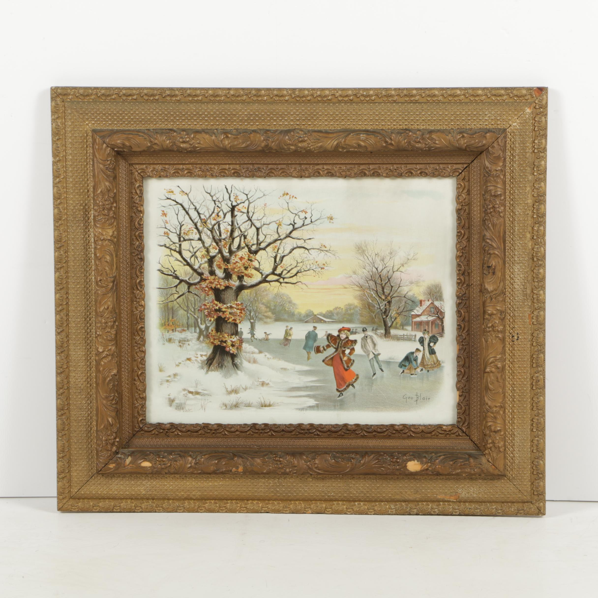 """Antique Chromolithograph after George Blair """"Winter's Pastime in Lincoln Park"""""""