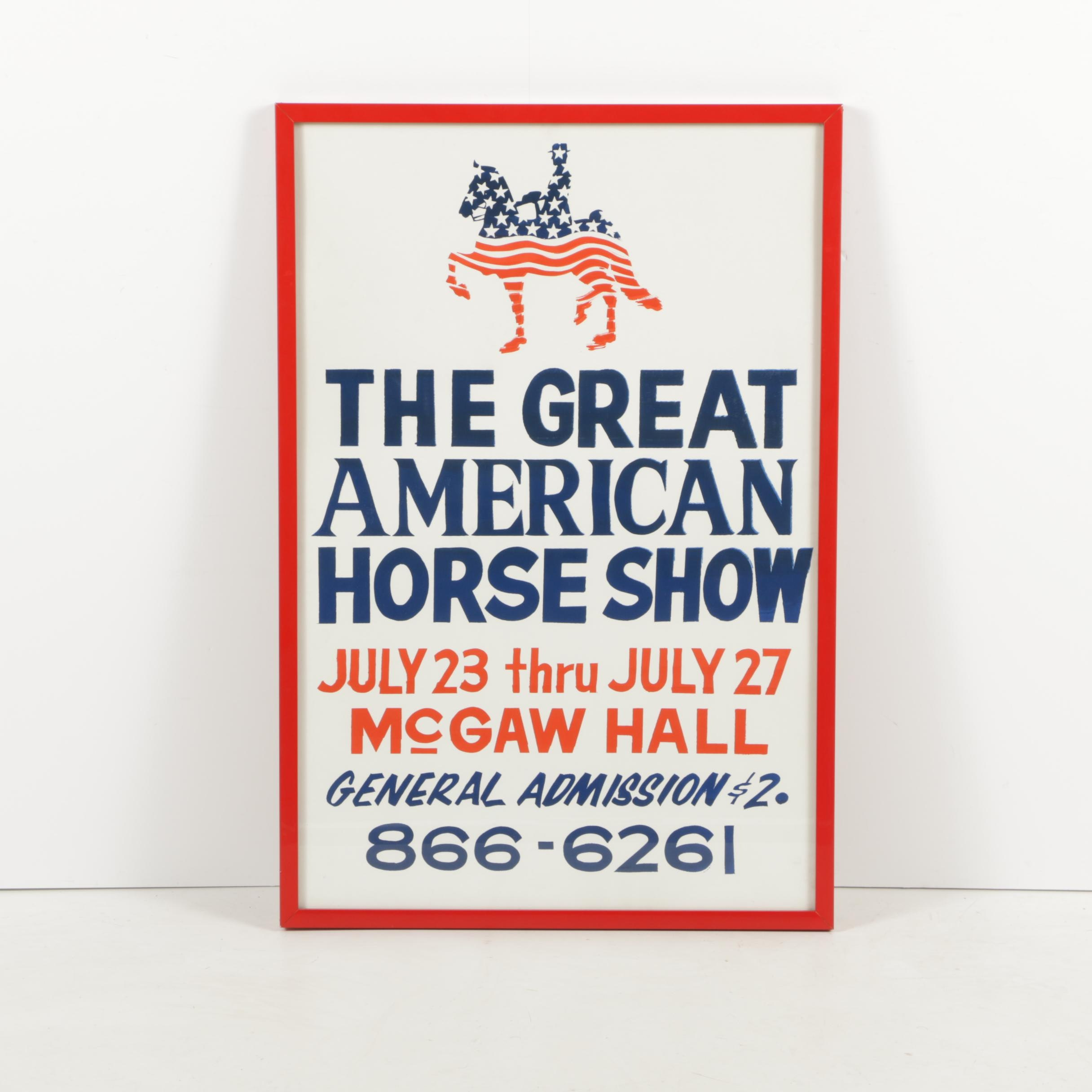 "Serigraph Poster on Paper ""The Great American Horse Show"""