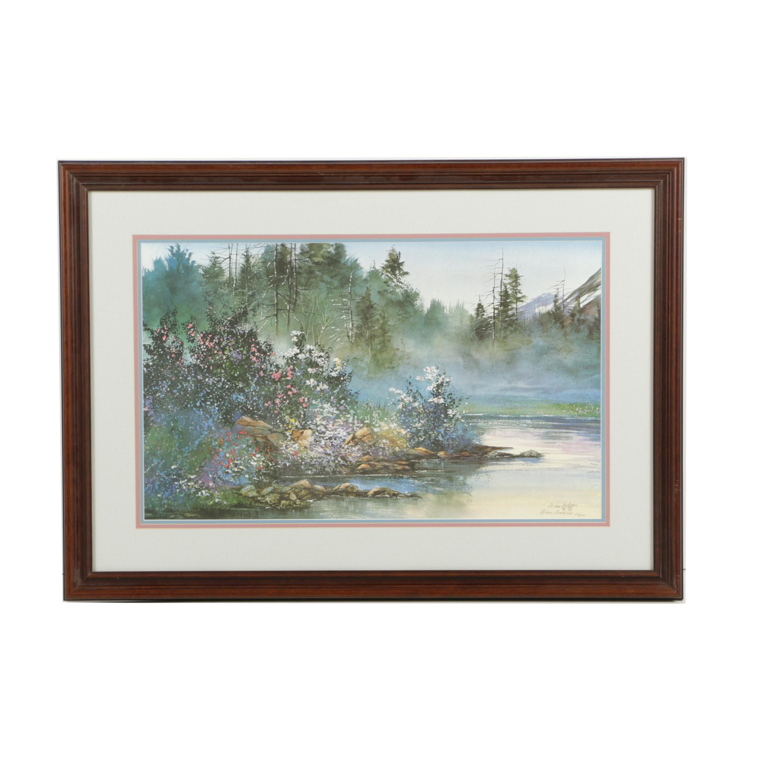 "Diane Anderson Limited Edition Offset Lithograph ""Stillness Mountain Lake"""