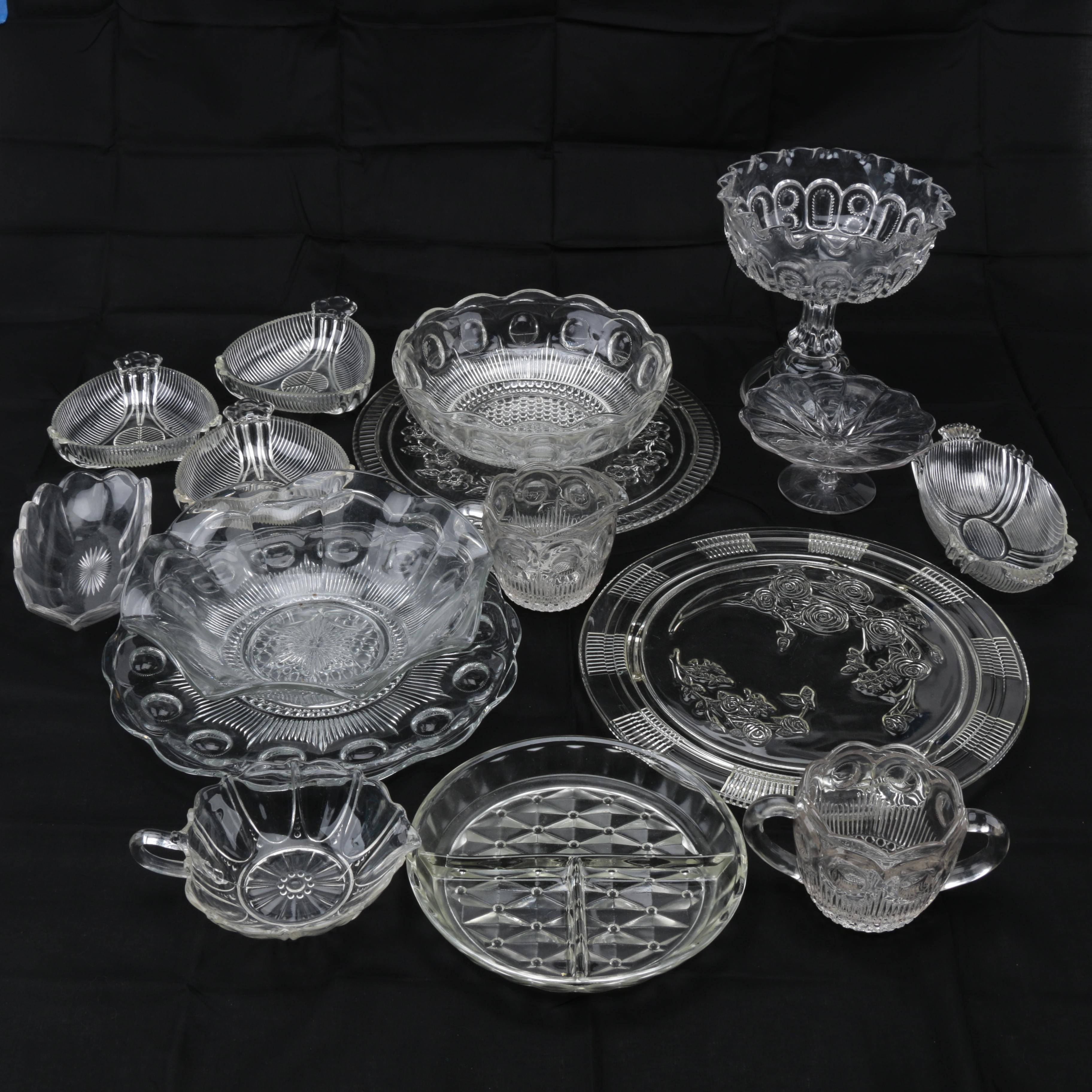 Collection of Pressed Glass Serveware
