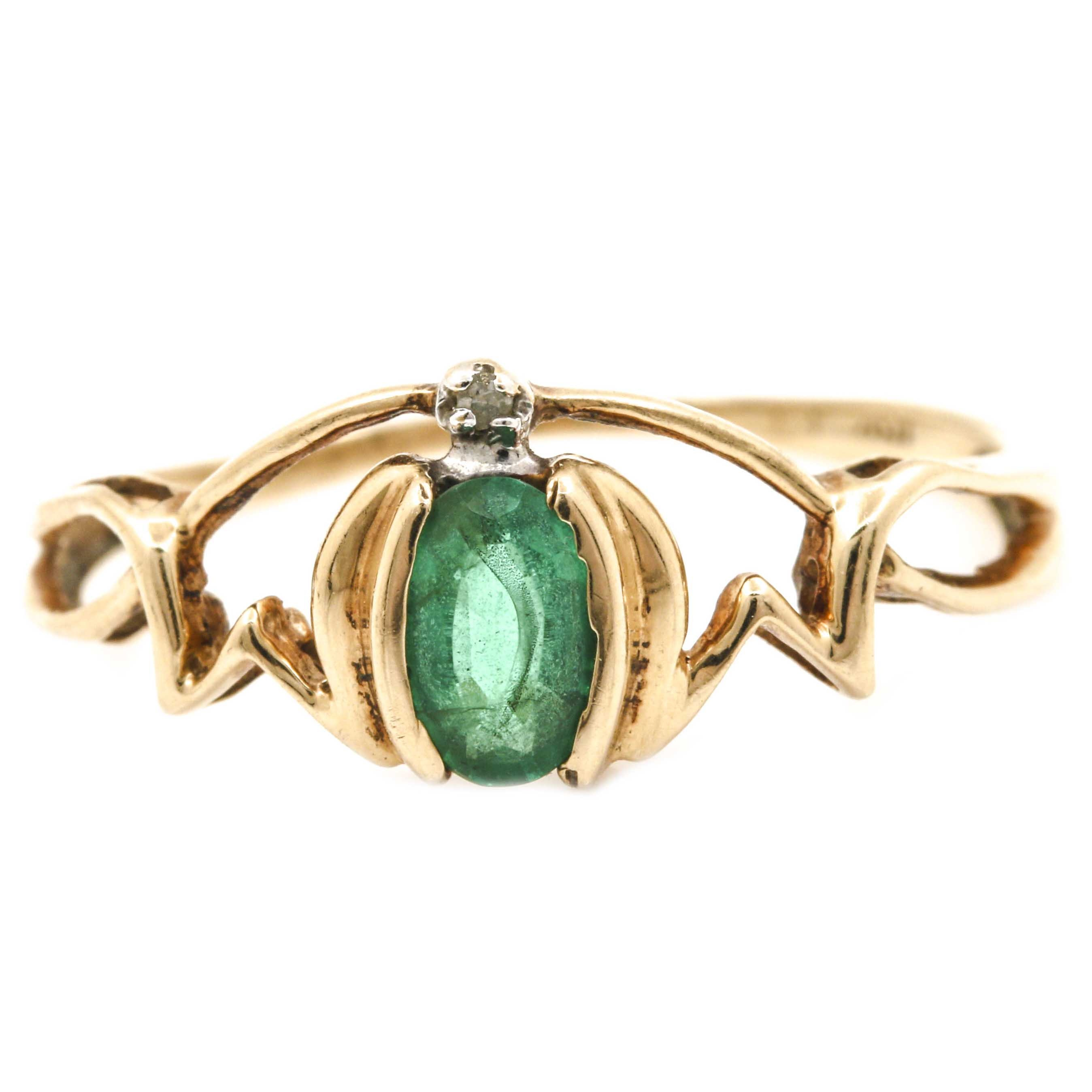 10K Yellow Gold Diamond and Emerald Mothers Ring