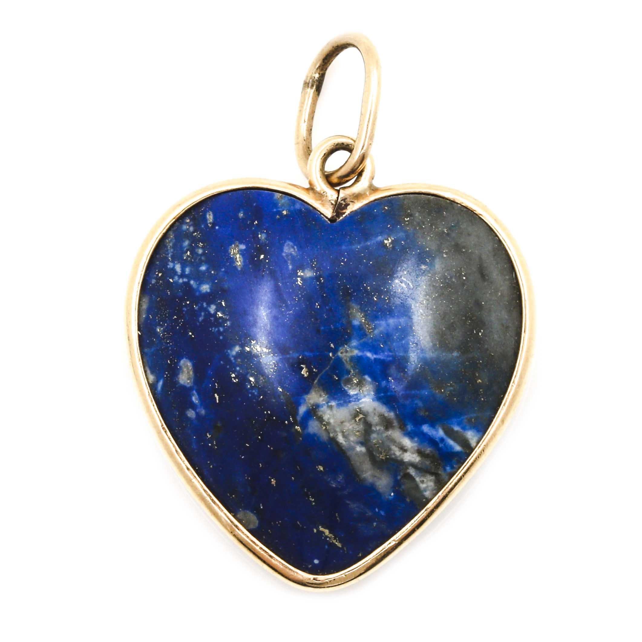 14K Yellow Gold Lapis Lazuli Heart Shaped Pendant