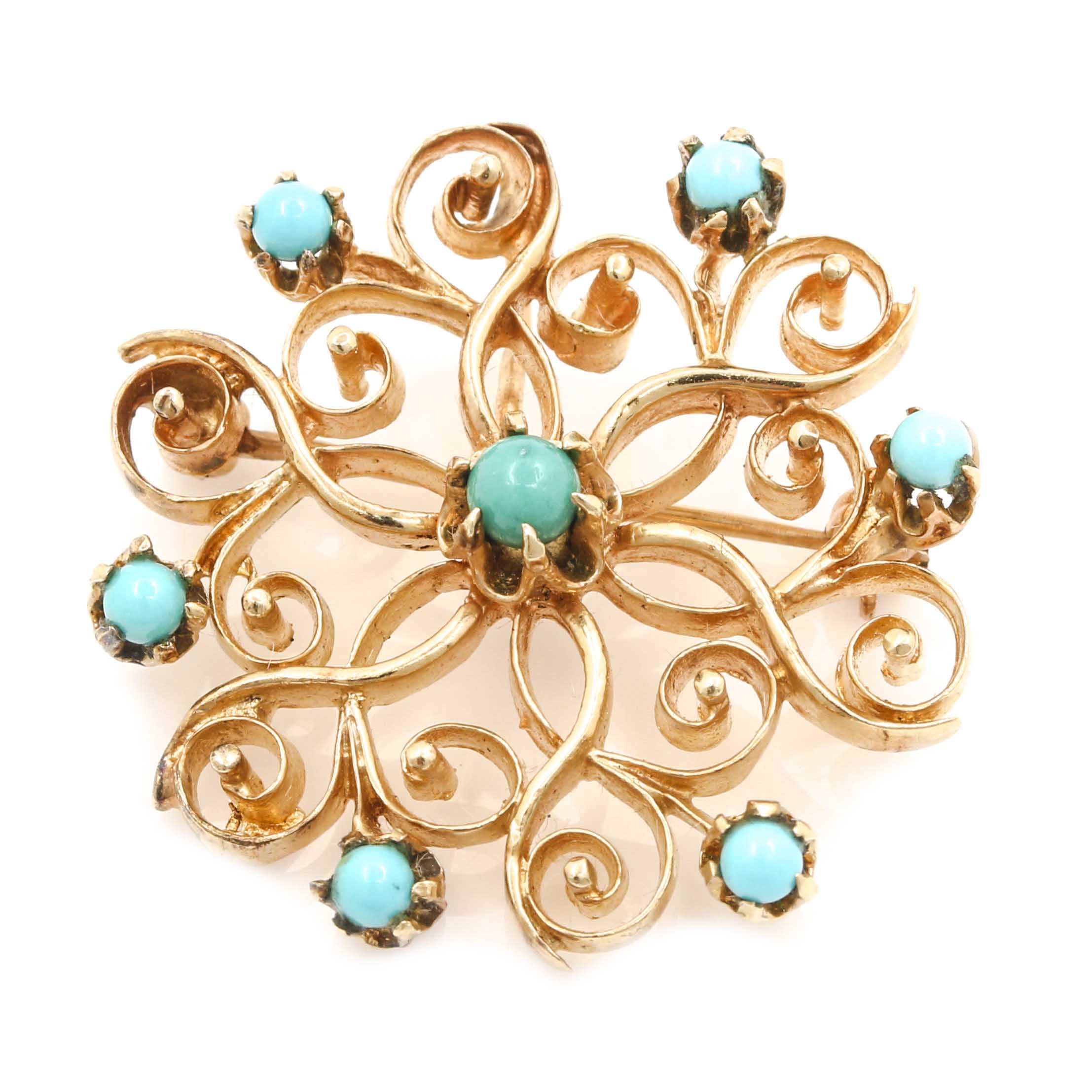 14K Yellow Gold Turquoise Openwork Brooch