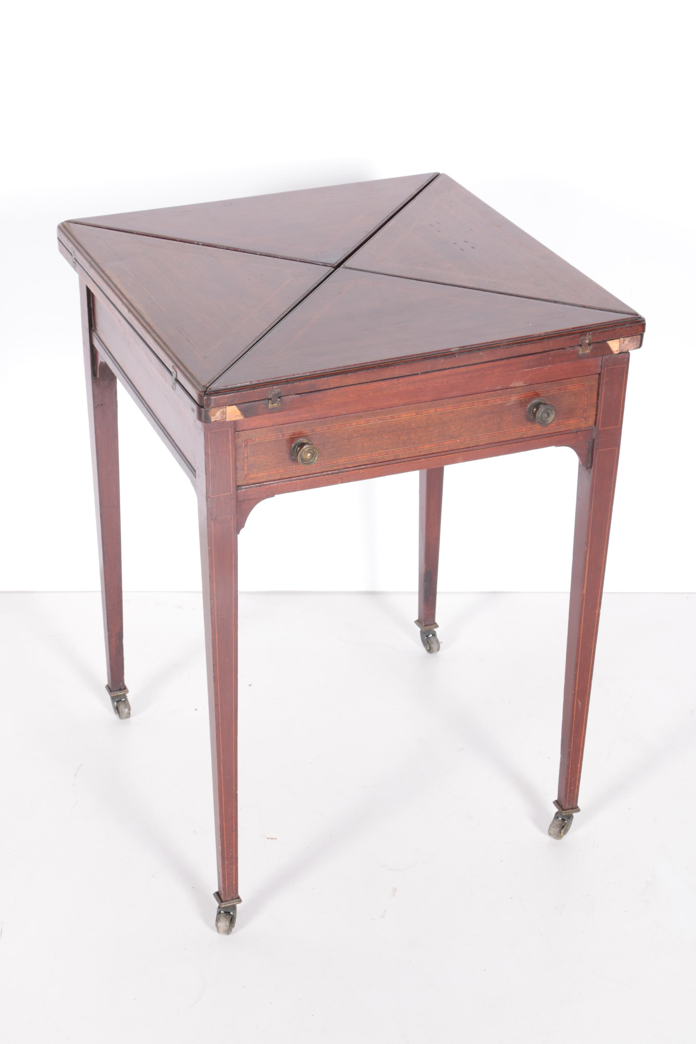 Antique English Inlaid Games Table