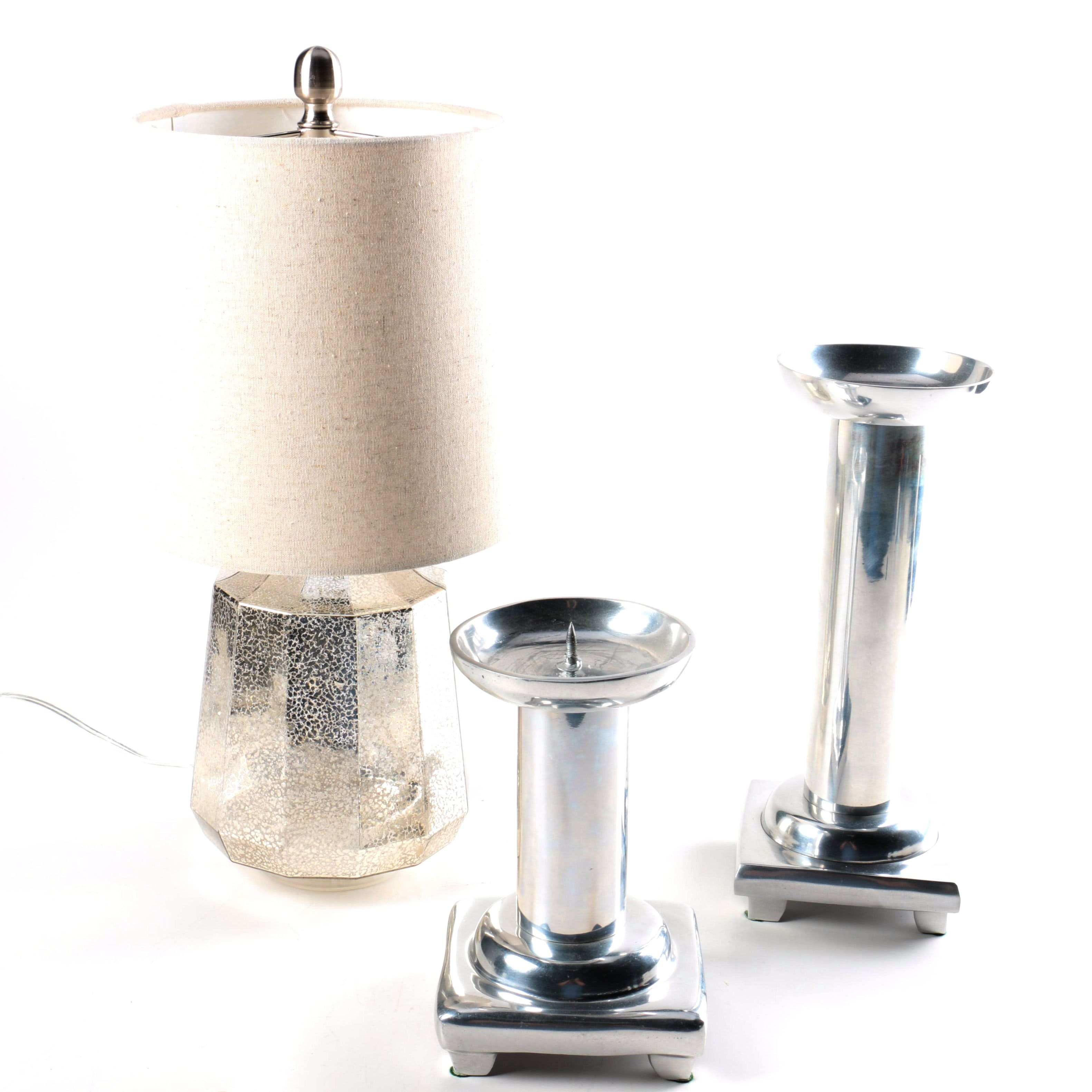 Mirrored Glass Table Lamp and Metal Candleholders