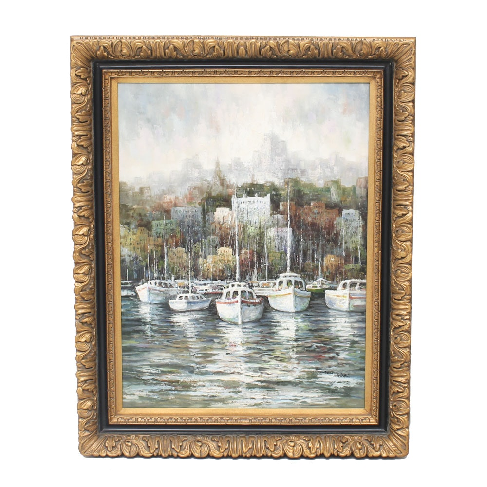 John Clark Oil Painting on Canvas of Boats Docked at a City Harbor