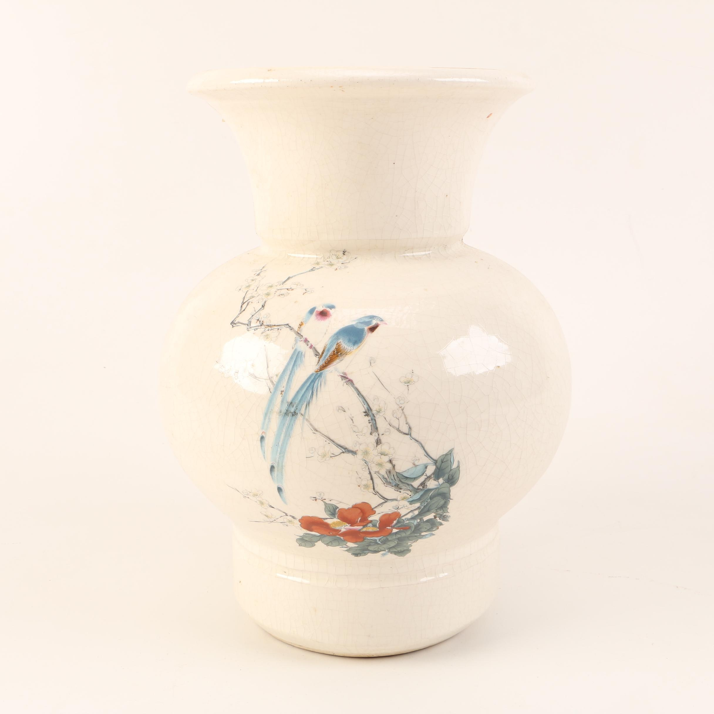 Hand-Painted Off-White Vase