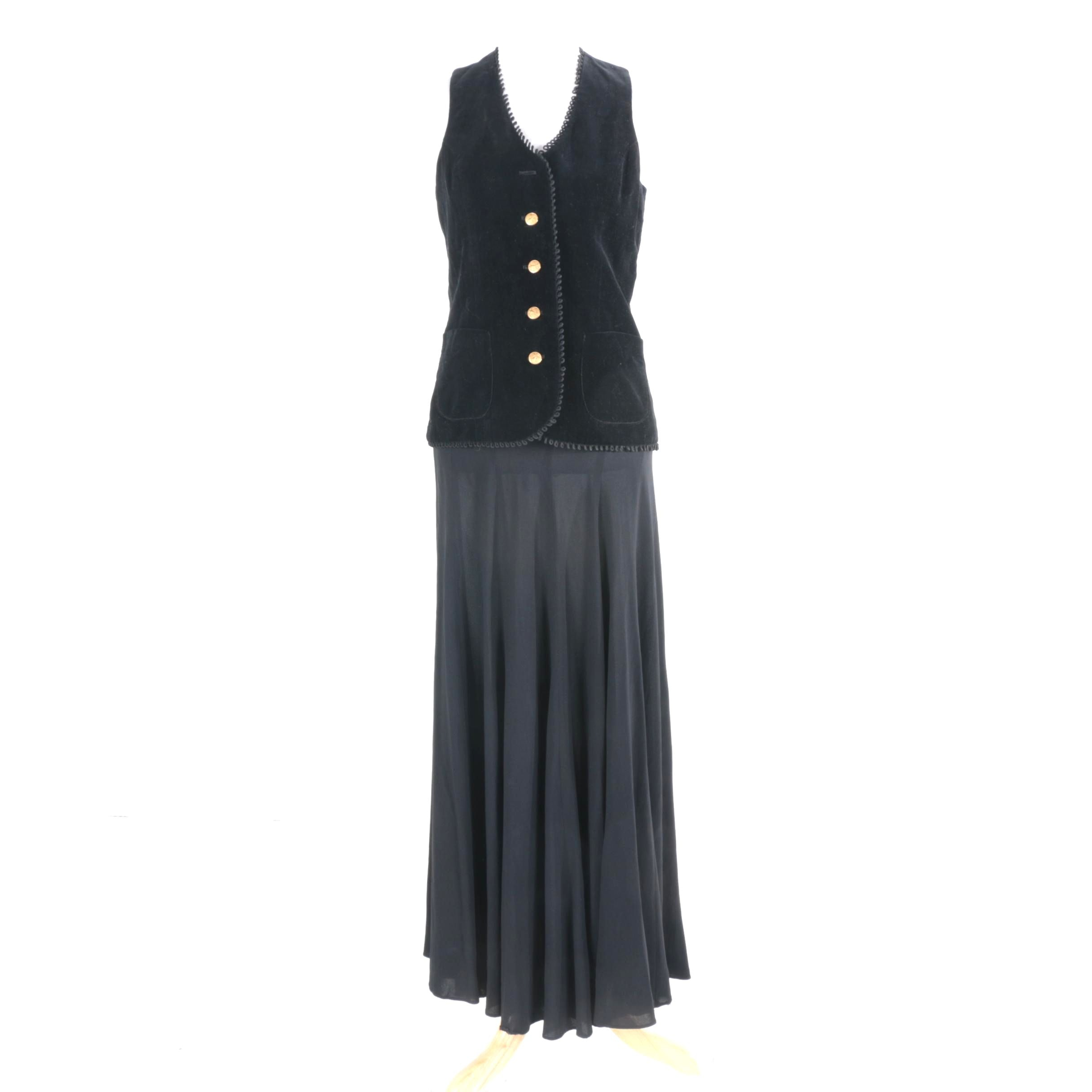 Women's Black Panel Skirt and Velvet Vest