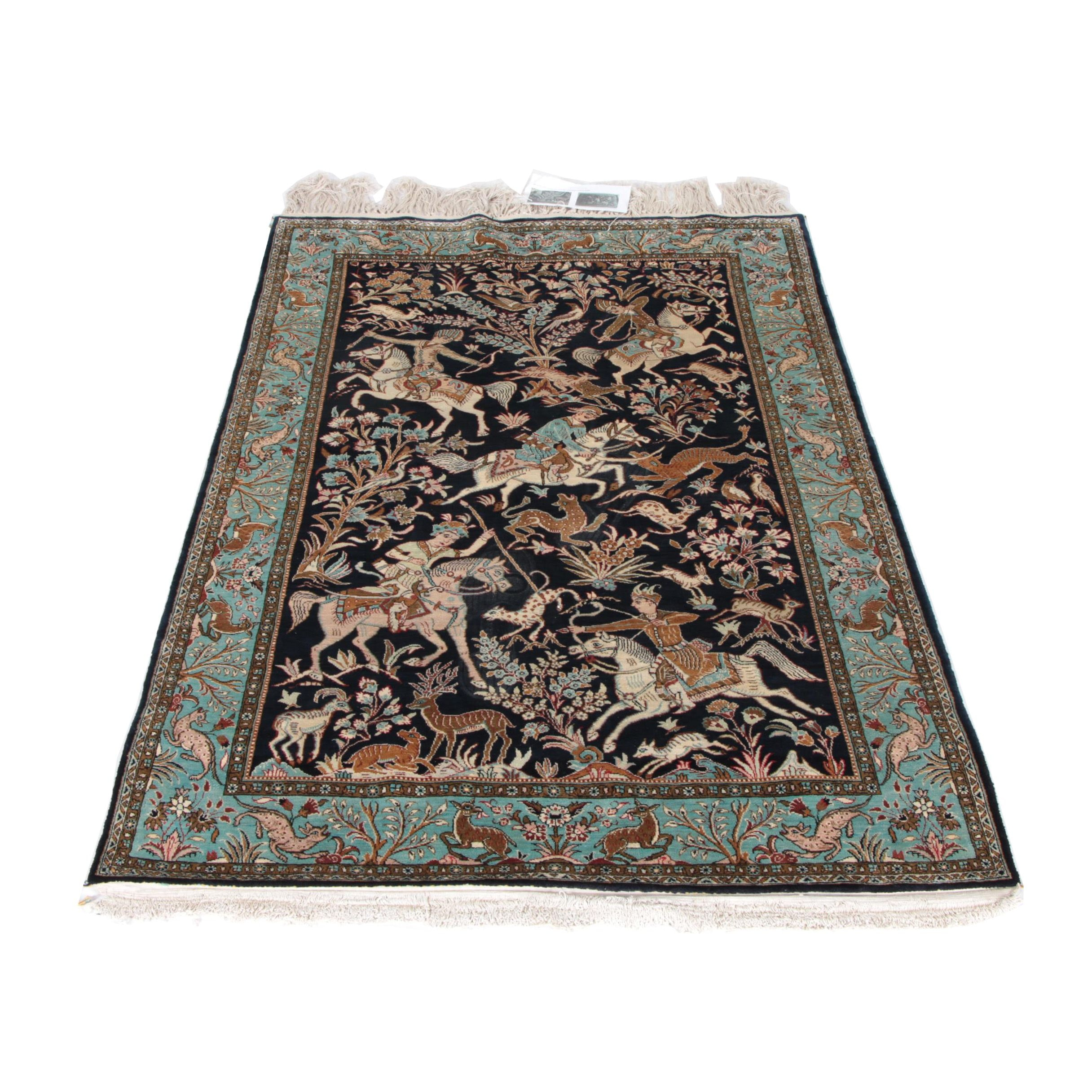 Hand-Knotted Persian Qum Hunting Rug in Silk